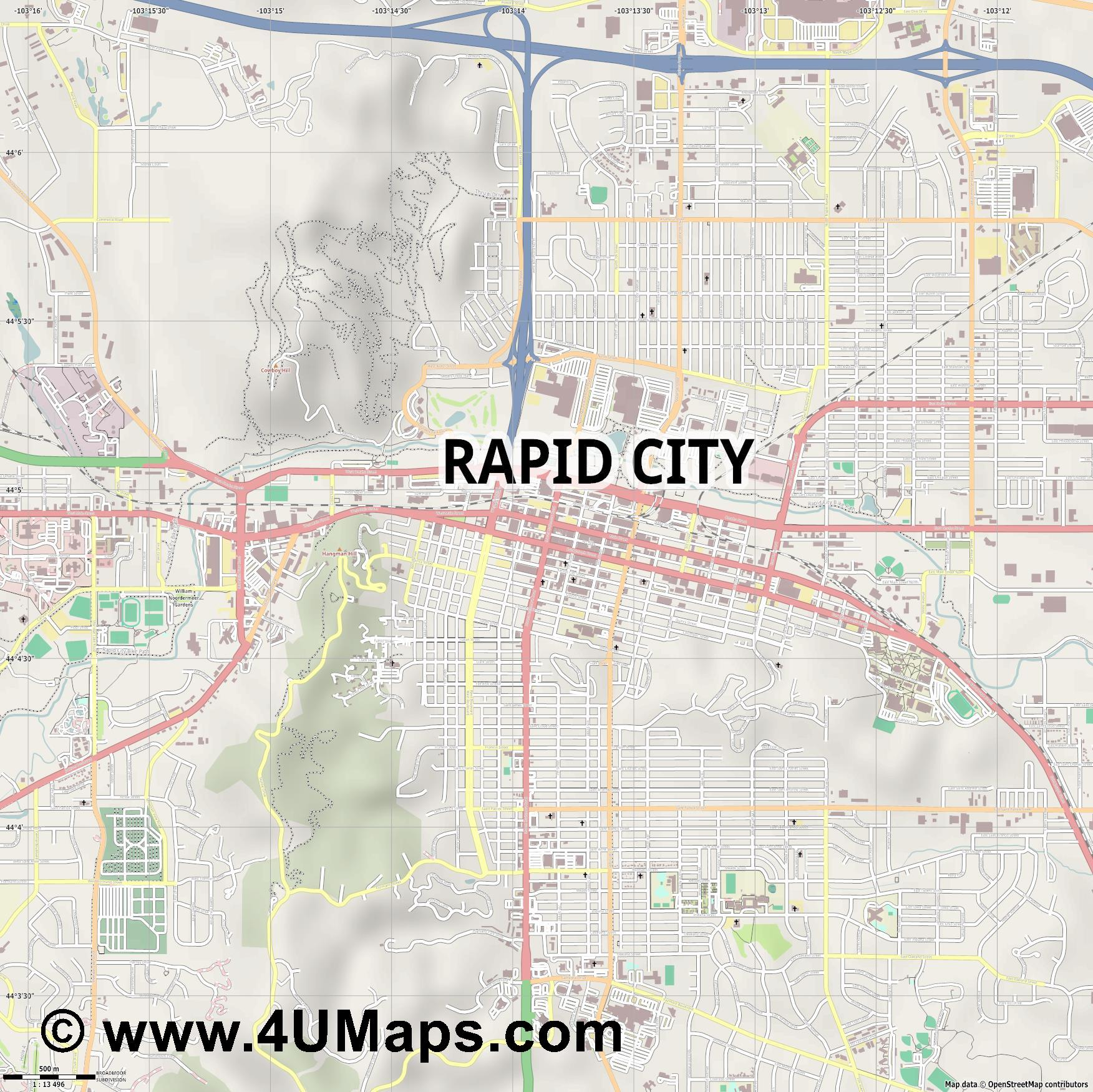 Rapid City  jpg ultra high detail preview vector city map