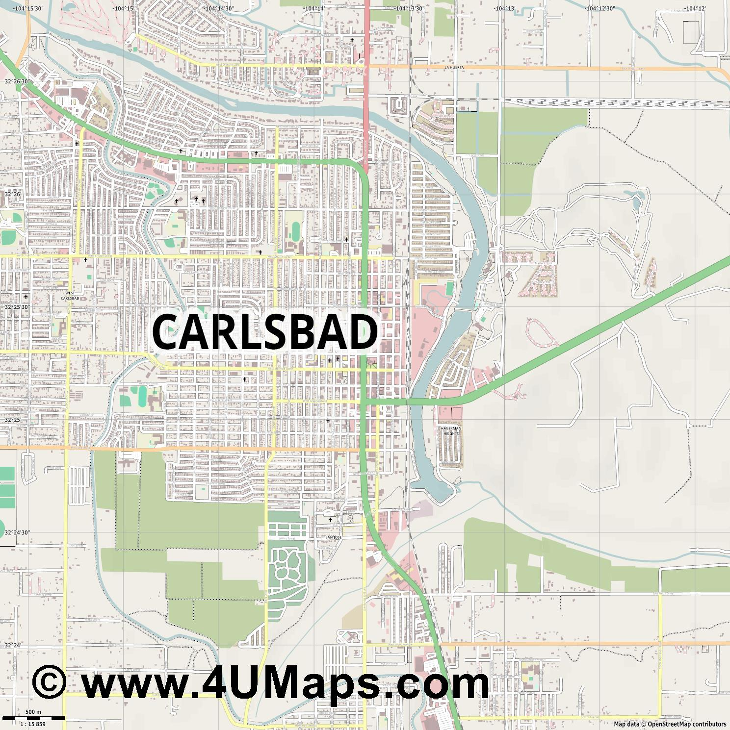 Carlsbad  jpg ultra high detail preview vector city map