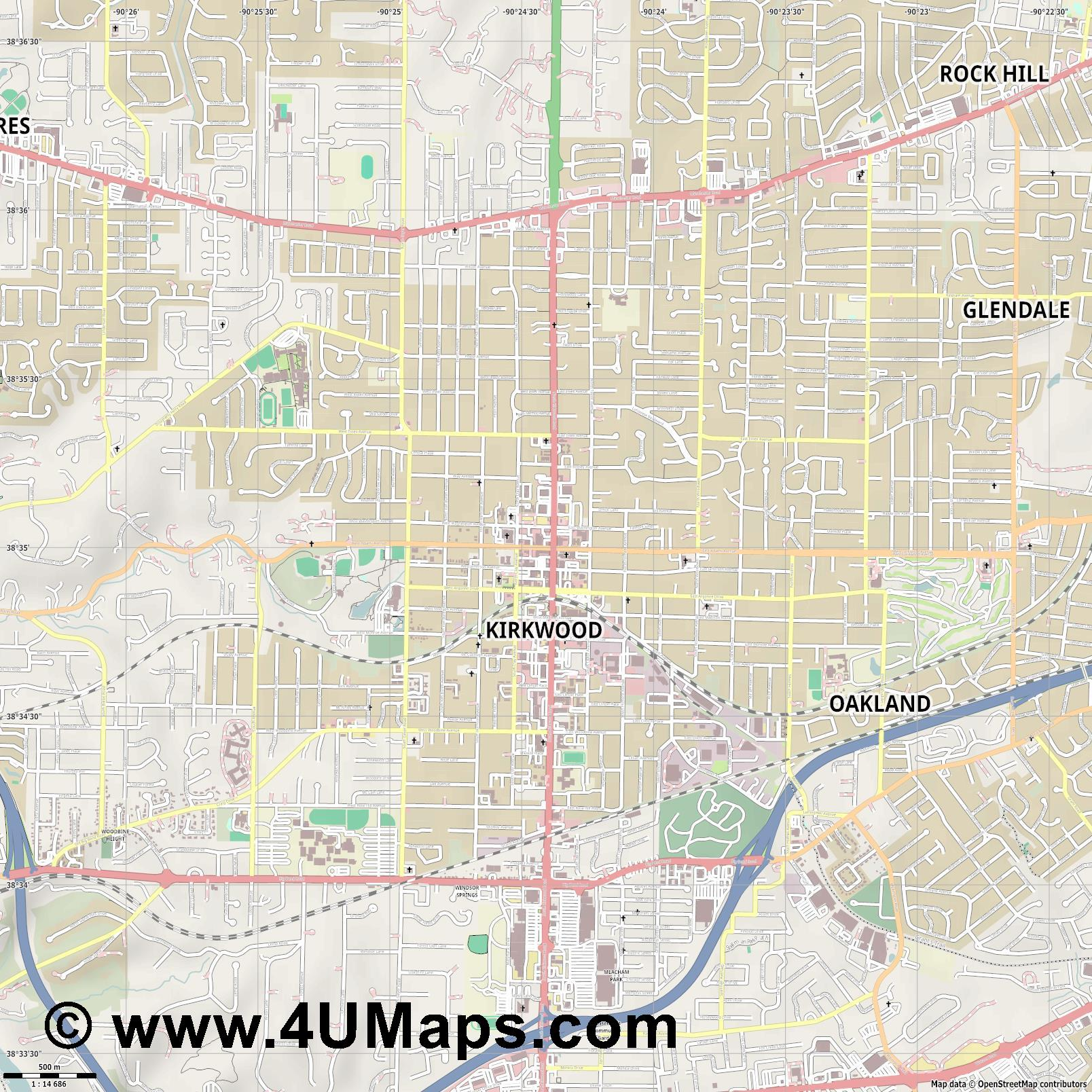 Kirkwood  jpg ultra high detail preview vector city map