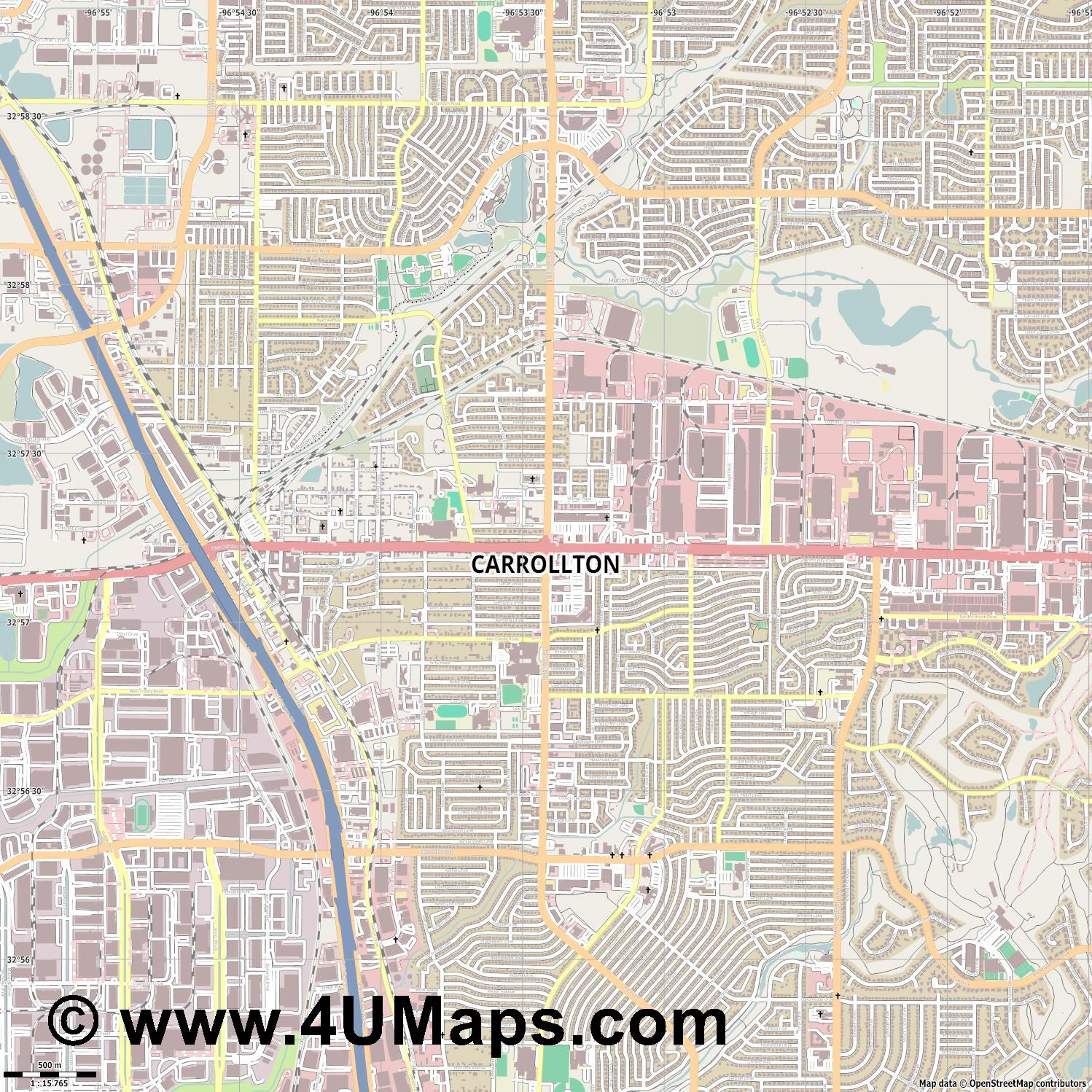 Carrollton  jpg ultra high detail preview vector city map