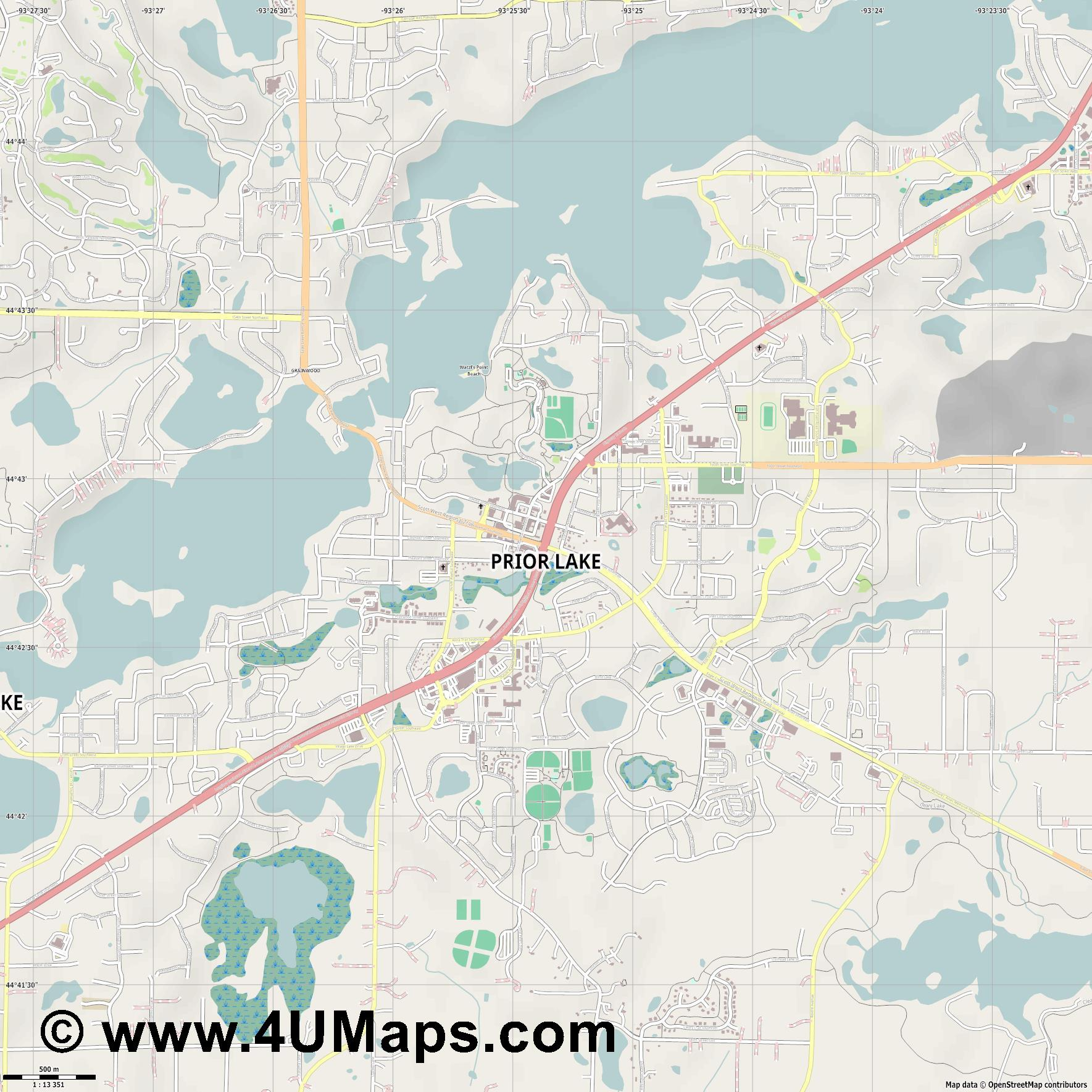 Prior Lake  jpg ultra high detail preview vector city map