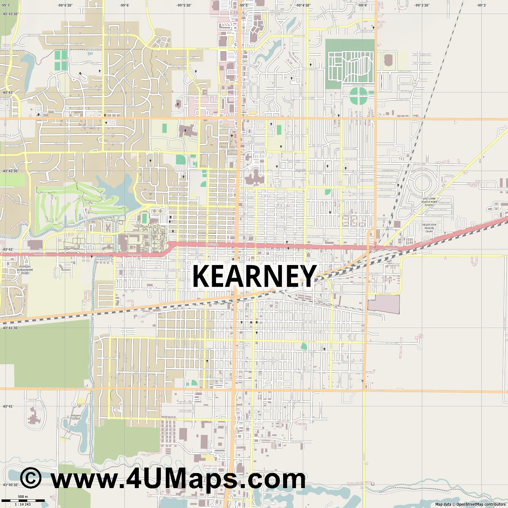 Kearney  jpg ultra high detail preview vector city map