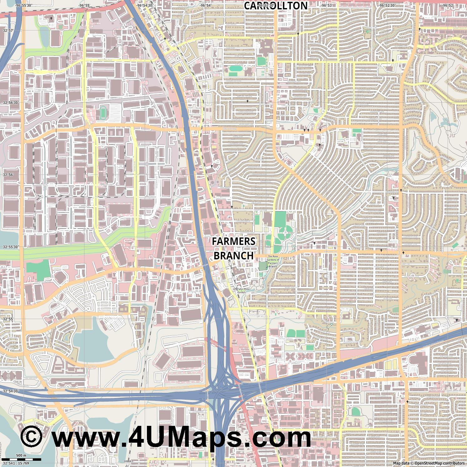 Farmers Branch  jpg ultra high detail preview vector city map