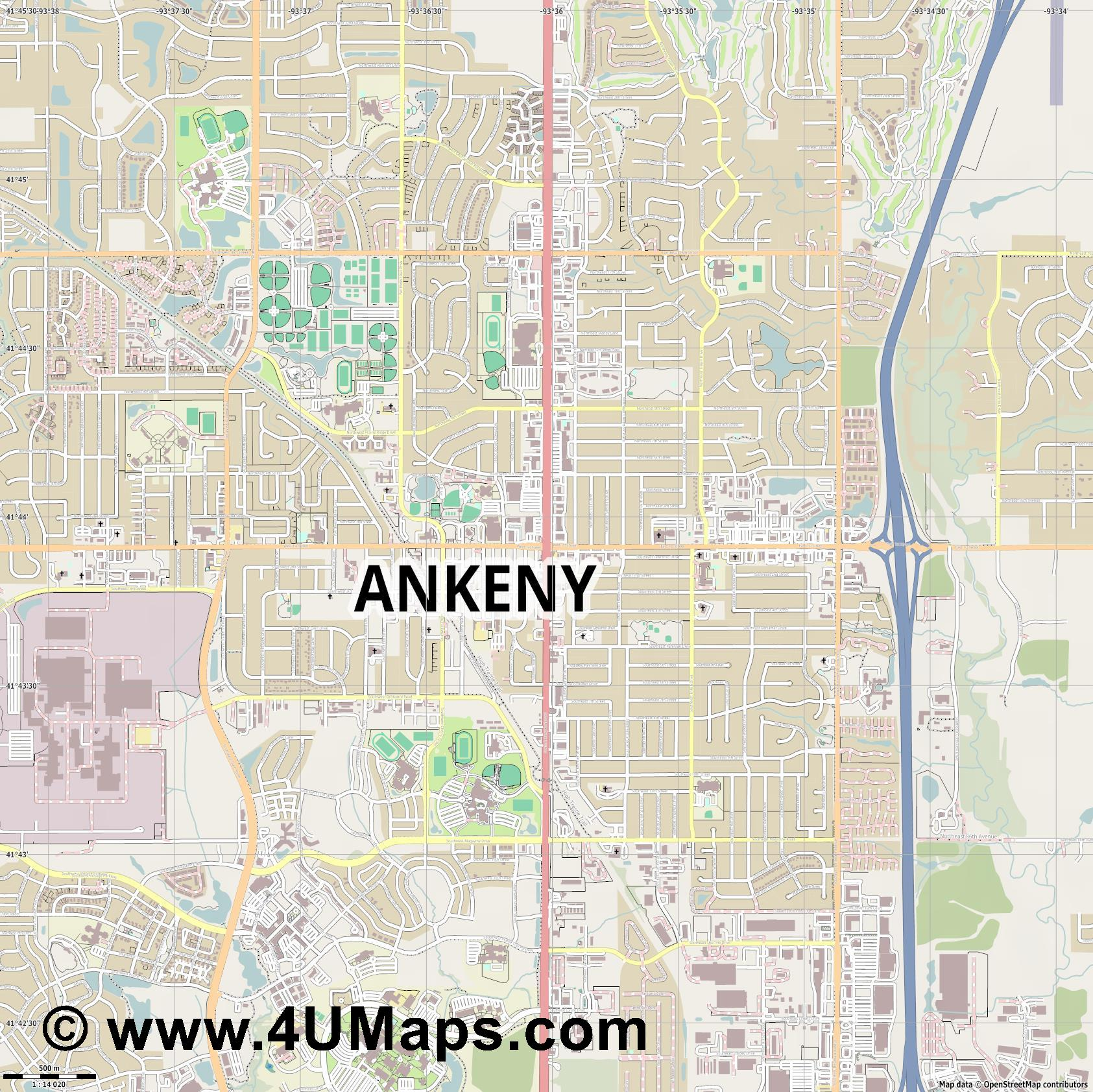 Ankeny  jpg ultra high detail preview vector city map