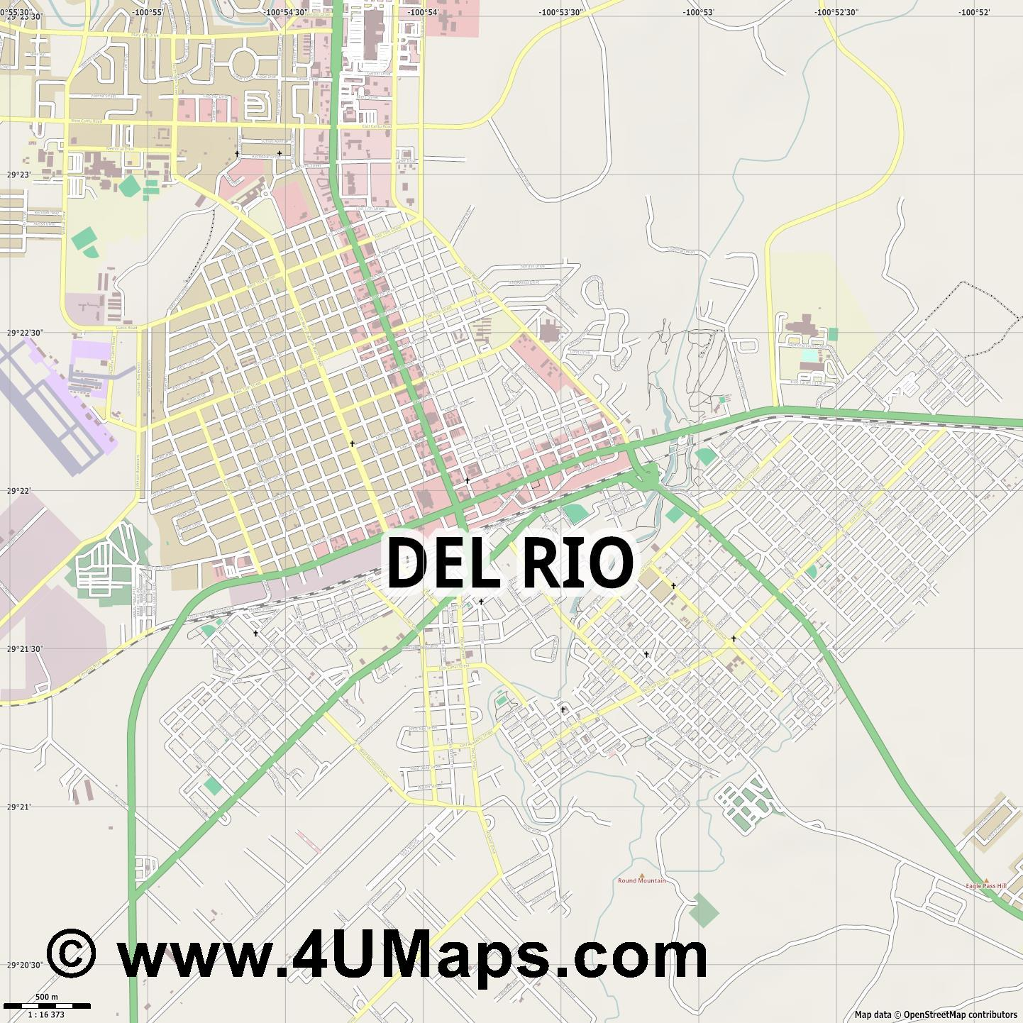 Del Rio  jpg ultra high detail preview vector city map