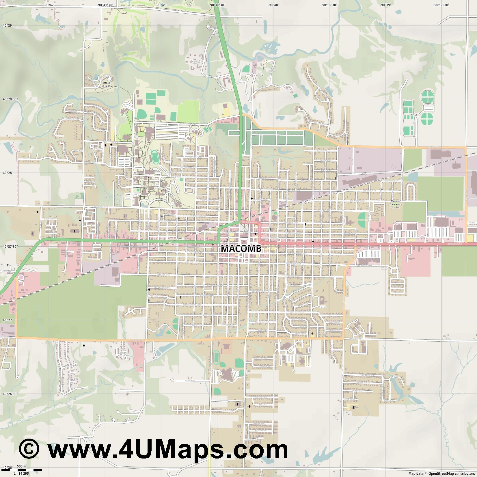 Macomb  jpg ultra high detail preview vector city map