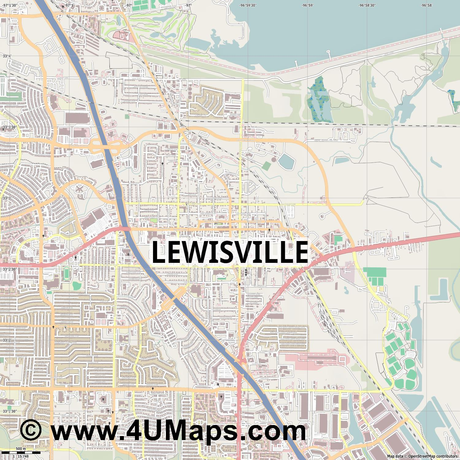 Lewisville  jpg ultra high detail preview vector city map