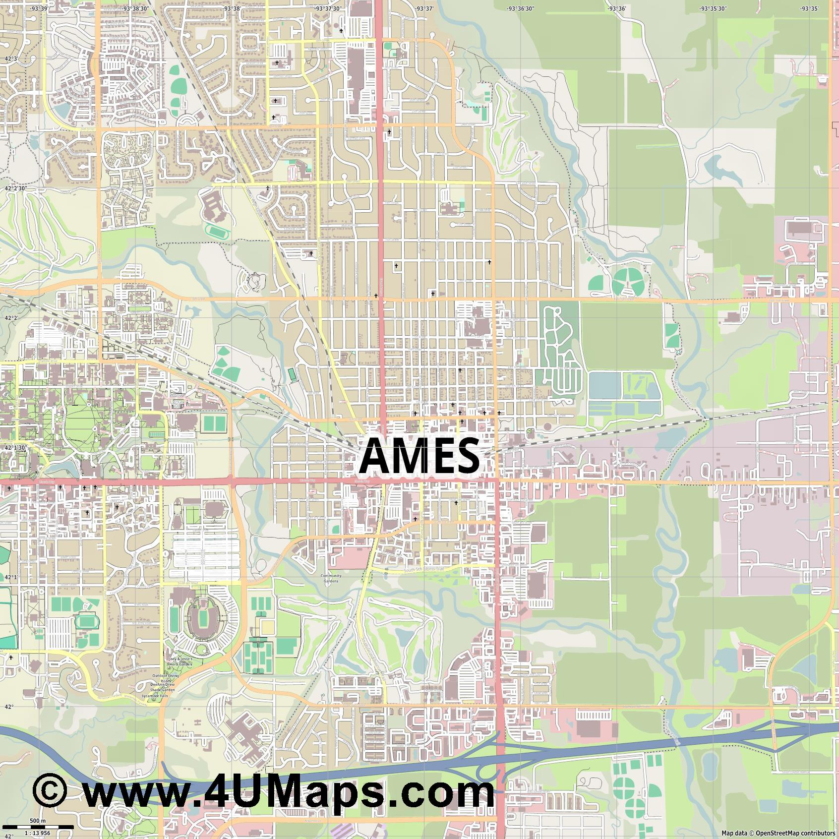 Ames  jpg ultra high detail preview vector city map