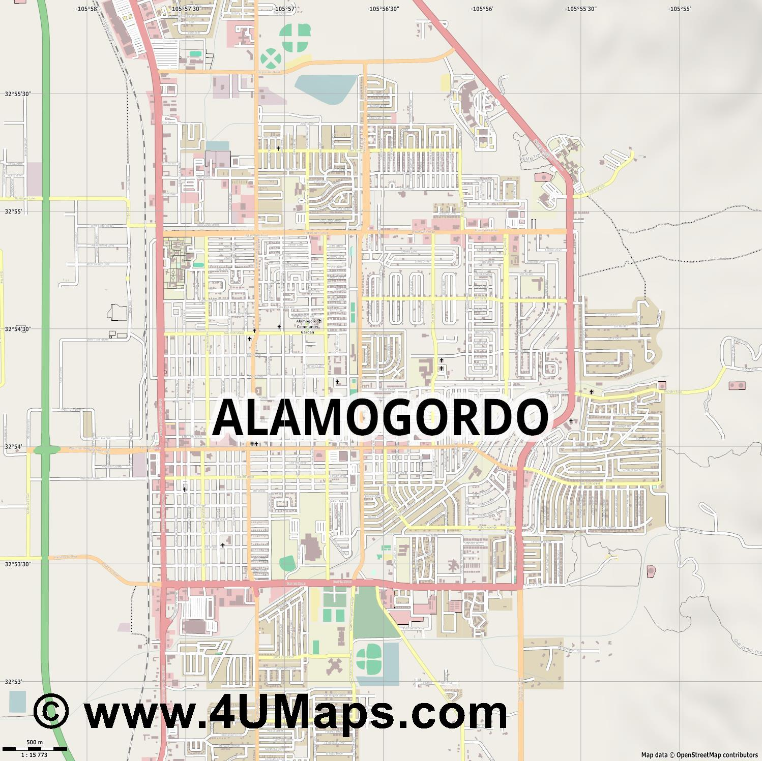Alamogordo  jpg ultra high detail preview vector city map