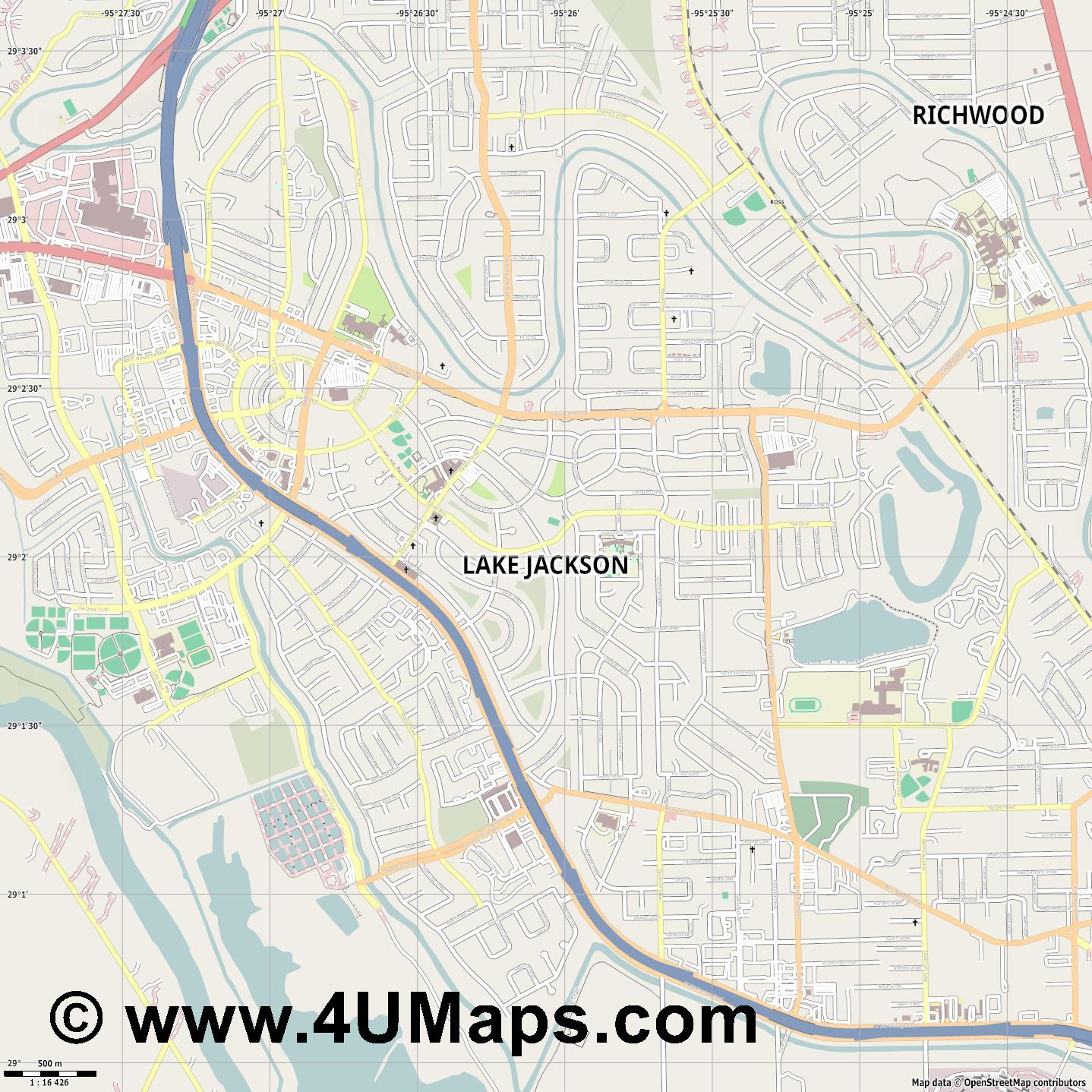 Lake Jackson  jpg ultra high detail preview vector city map