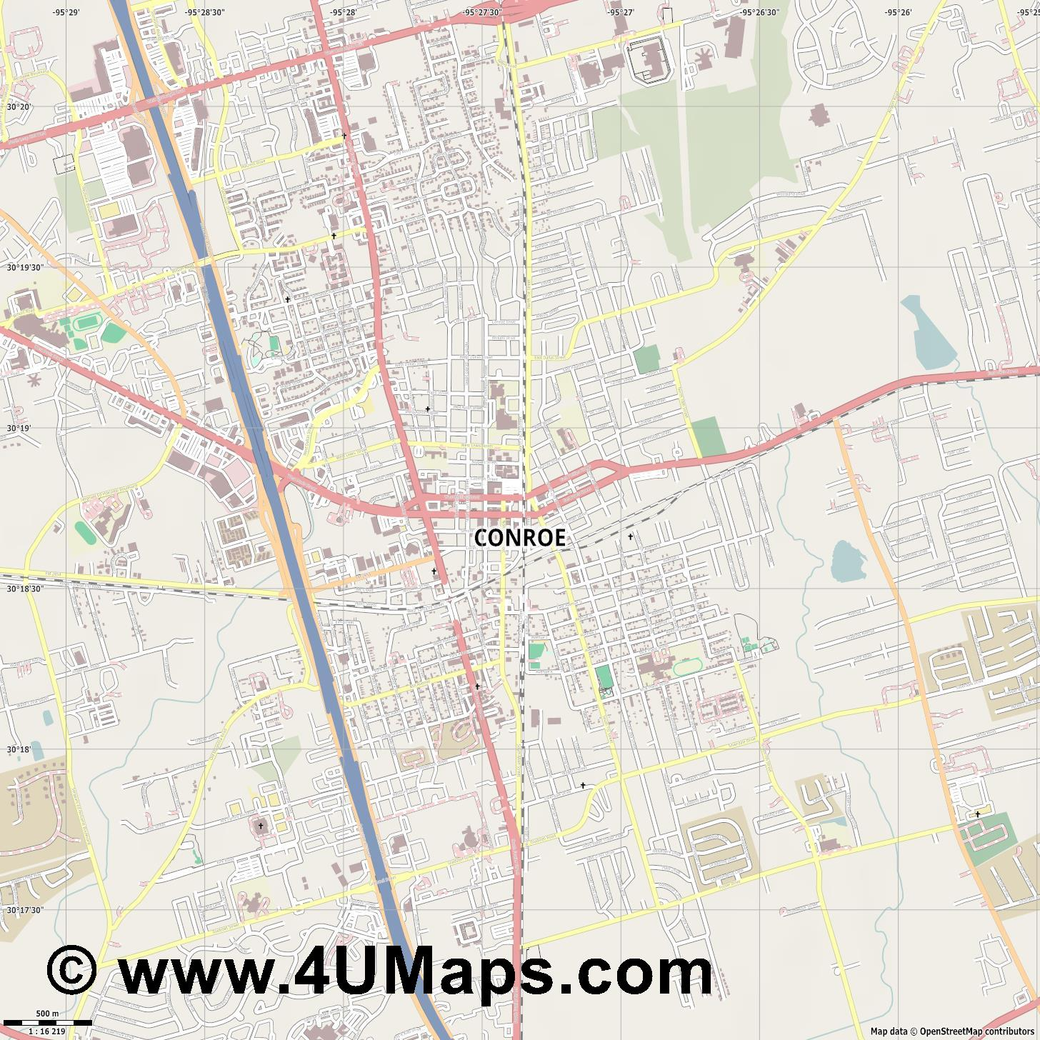 Conroe  jpg ultra high detail preview vector city map