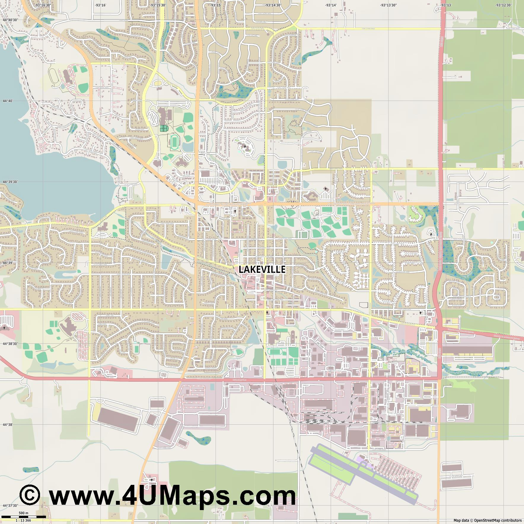 Lakeville  jpg ultra high detail preview vector city map