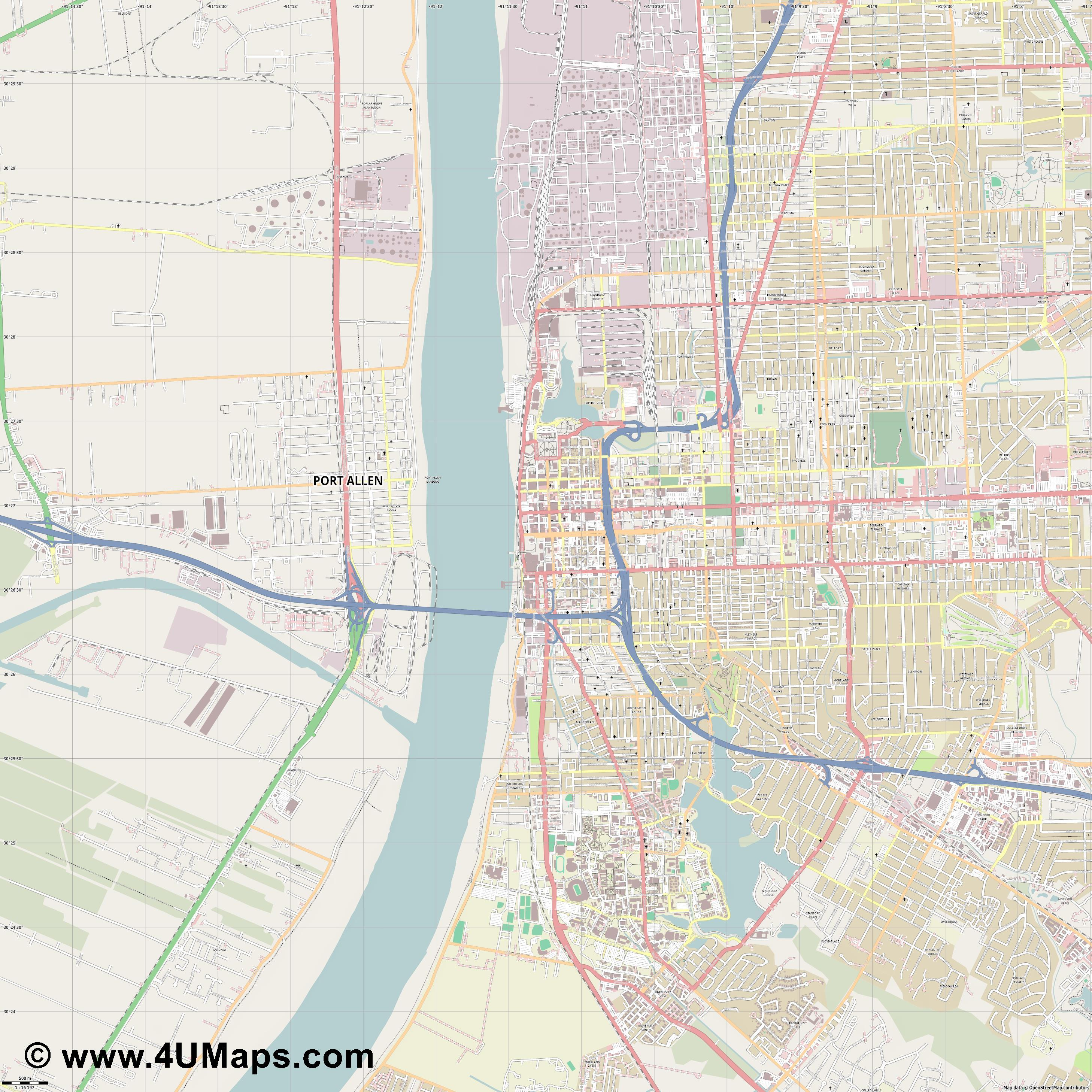 Baton Rouge  jpg ultra high detail preview vector city map