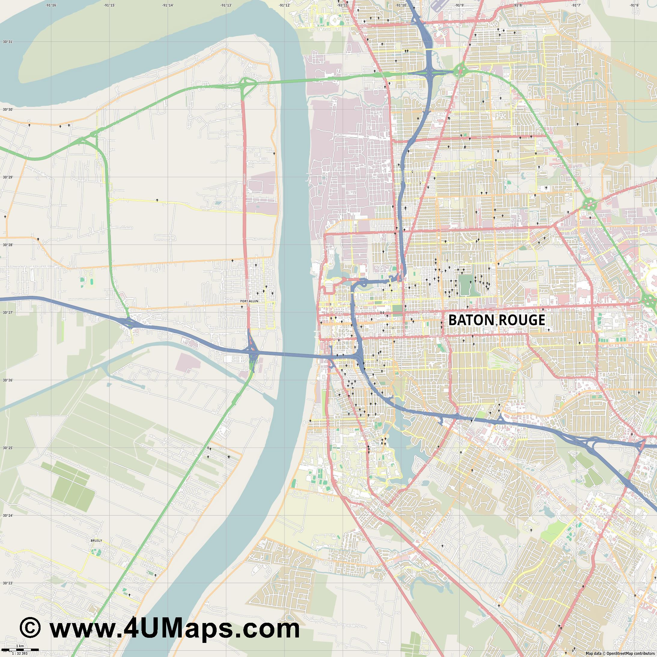 Baton Rouge  jpg high detail, large area preview vector city map