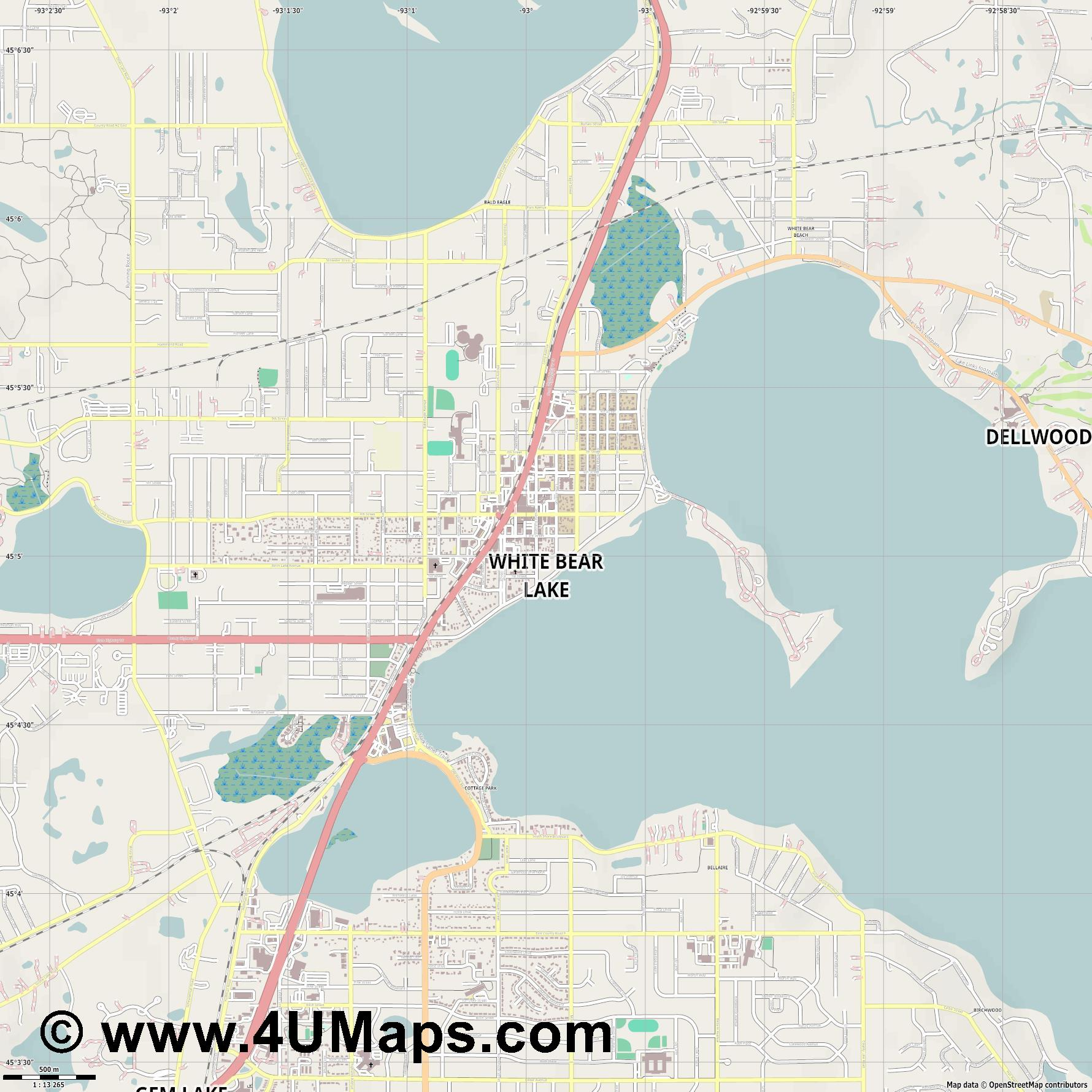 White Bear Lake  jpg ultra high detail preview vector city map