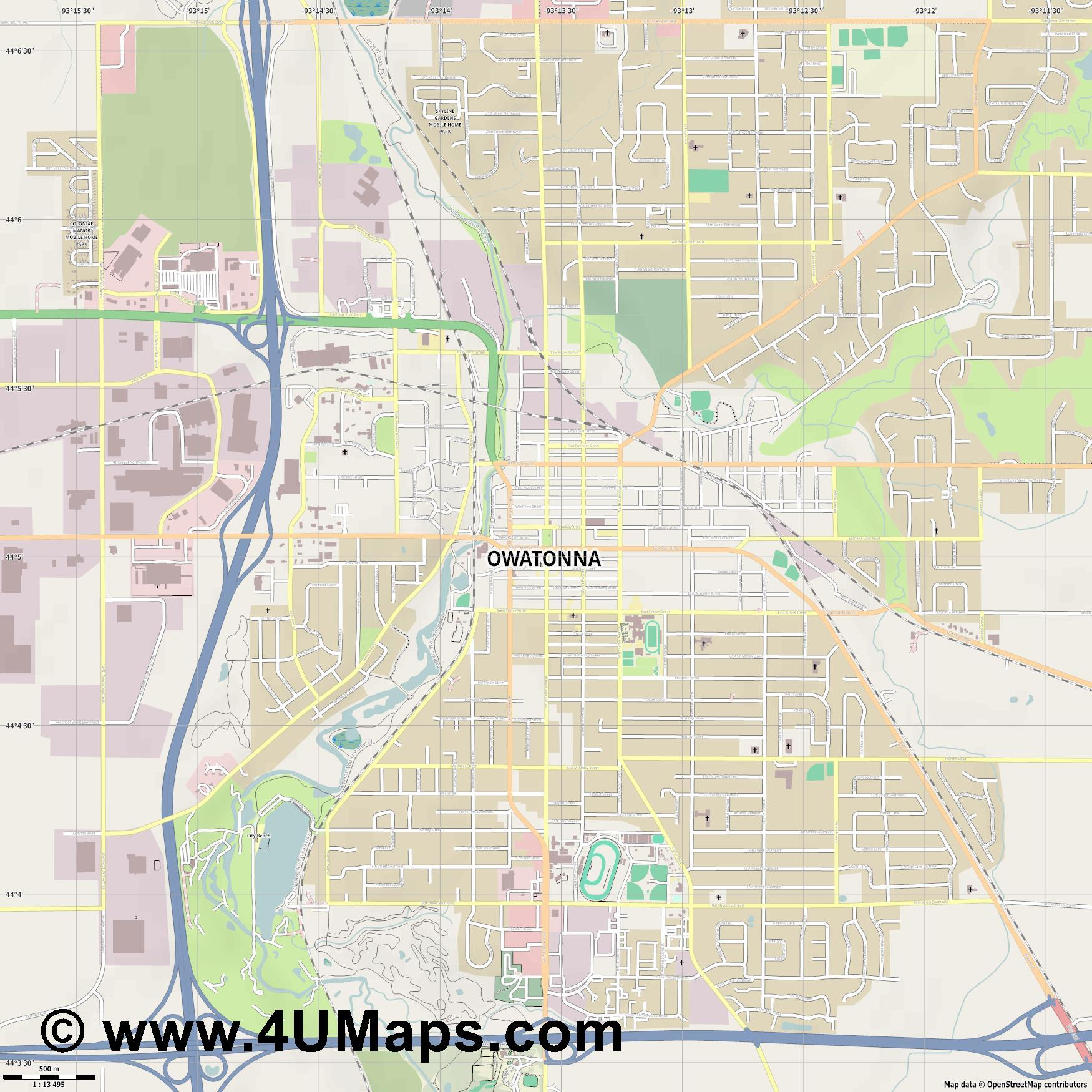 Owatonna  jpg ultra high detail preview vector city map