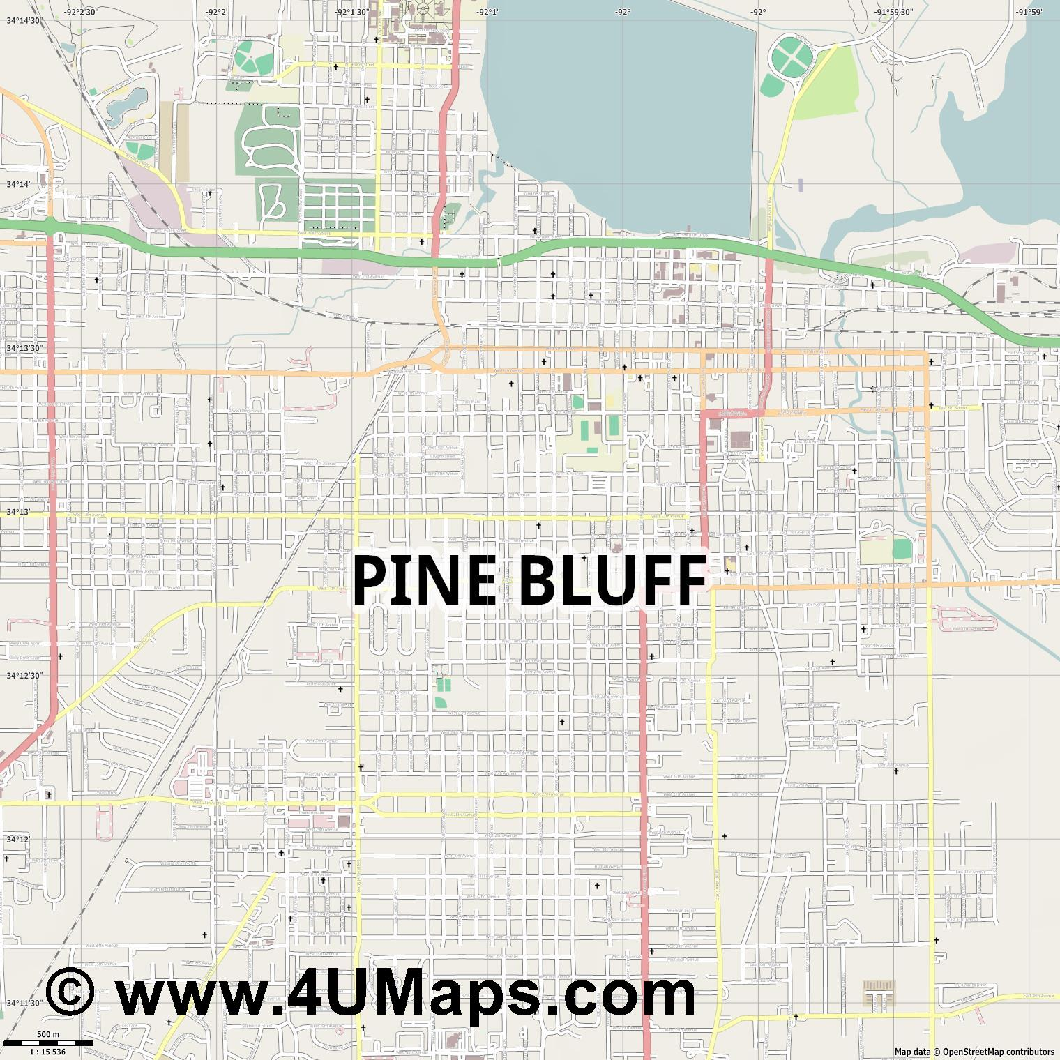 Pine Bluff  jpg ultra high detail preview vector city map