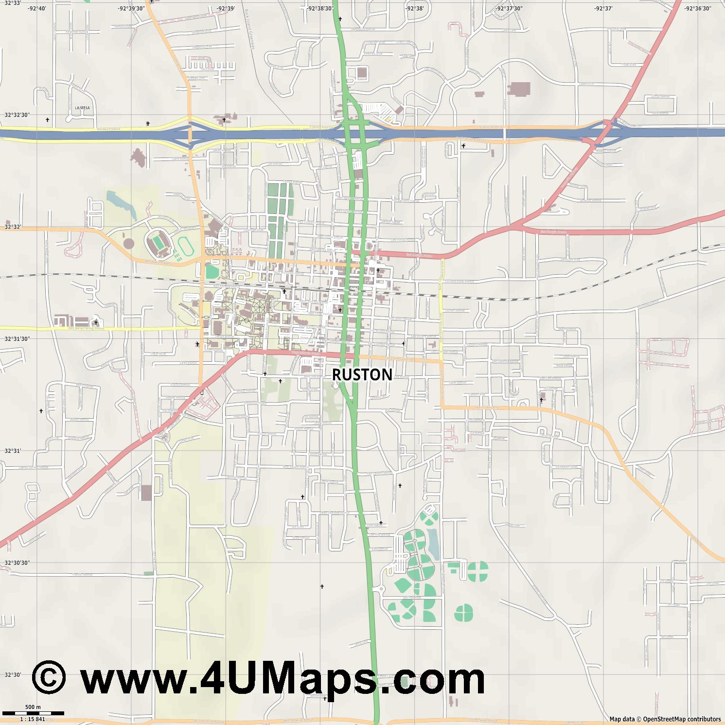 Ruston  jpg ultra high detail preview vector city map