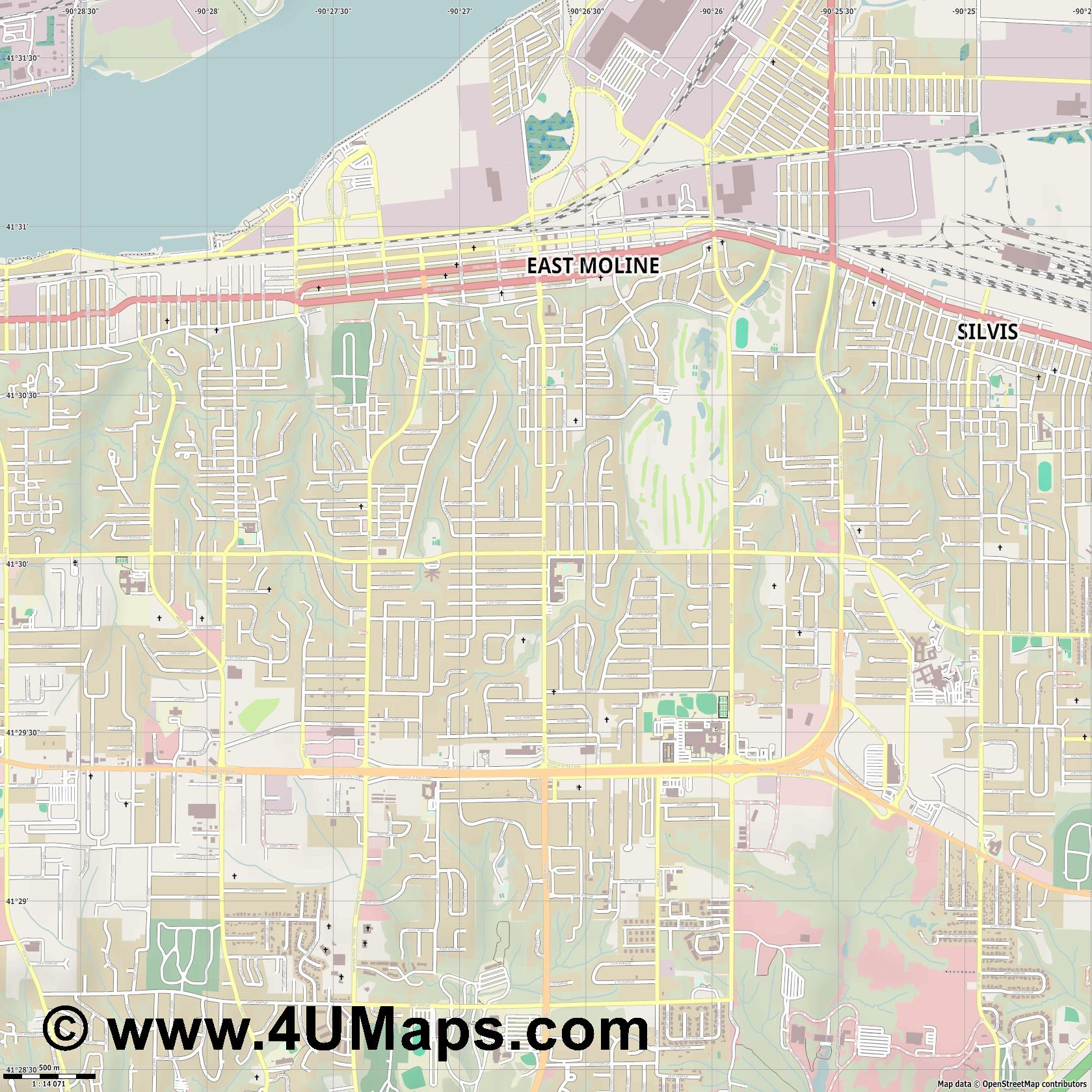 East Moline  jpg ultra high detail preview vector city map
