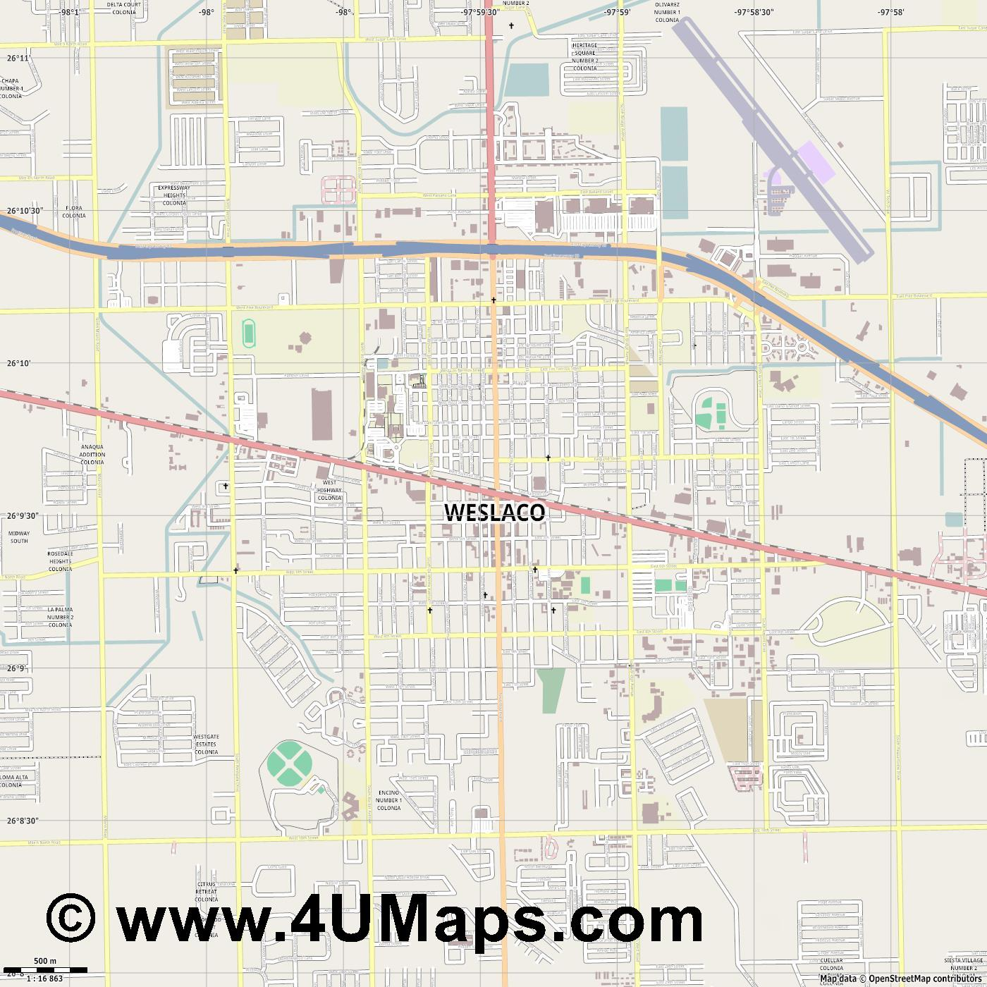 Weslaco  jpg ultra high detail preview vector city map