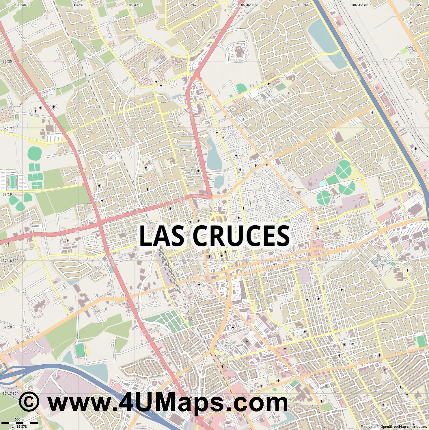 Las Cruces  jpg ultra high detail preview vector city map