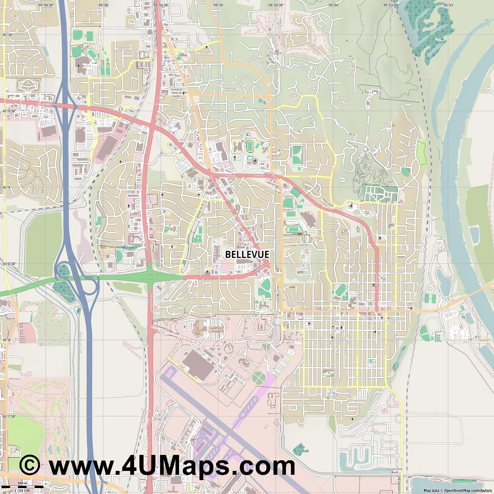 Bellevue  jpg ultra high detail preview vector city map