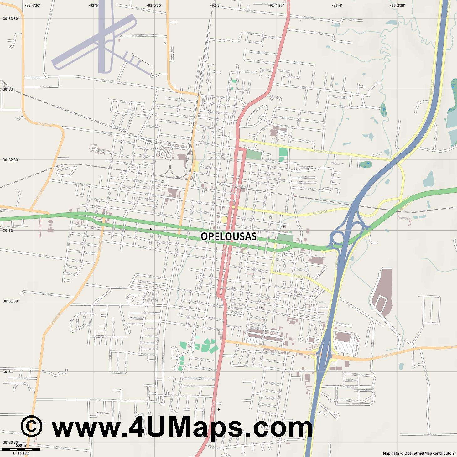Opelousas  jpg ultra high detail preview vector city map