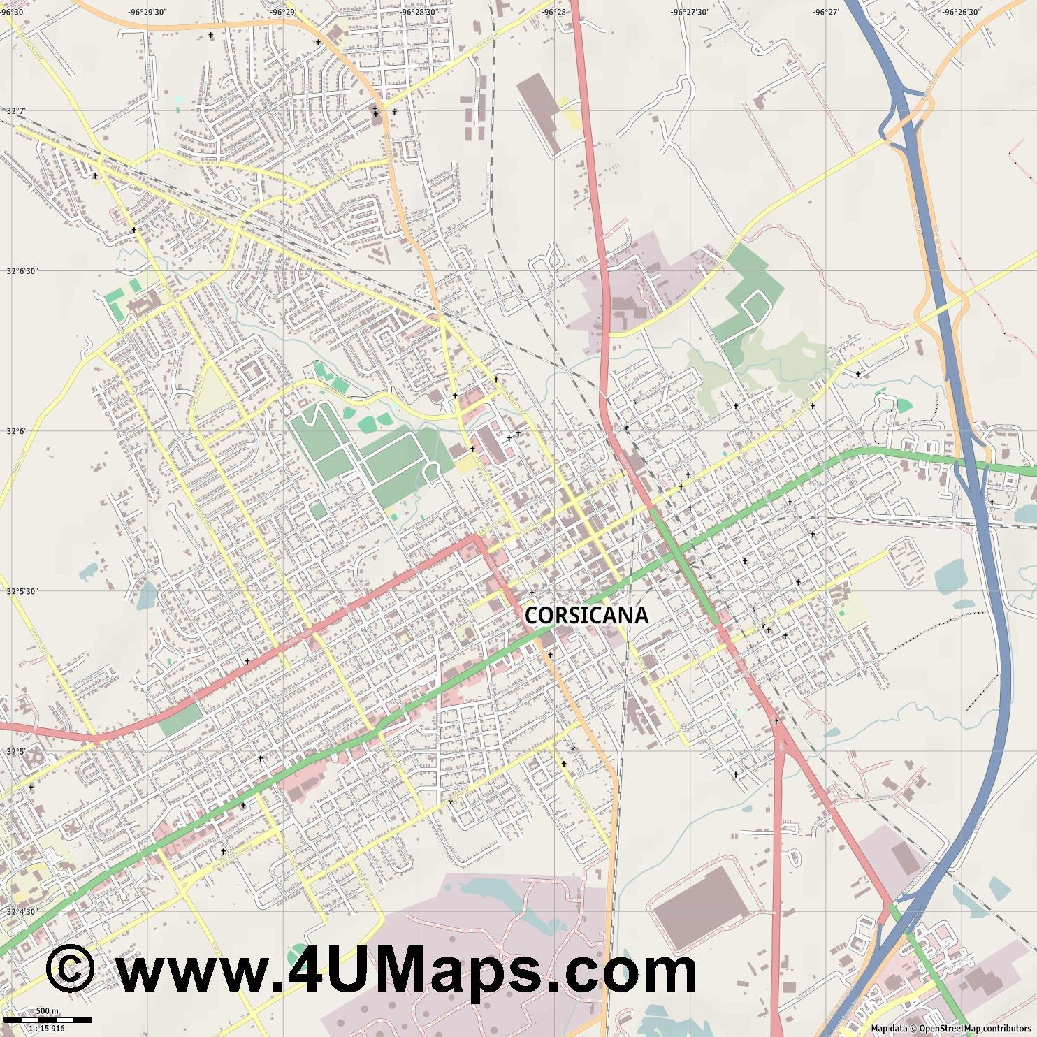 Corsicana  jpg ultra high detail preview vector city map