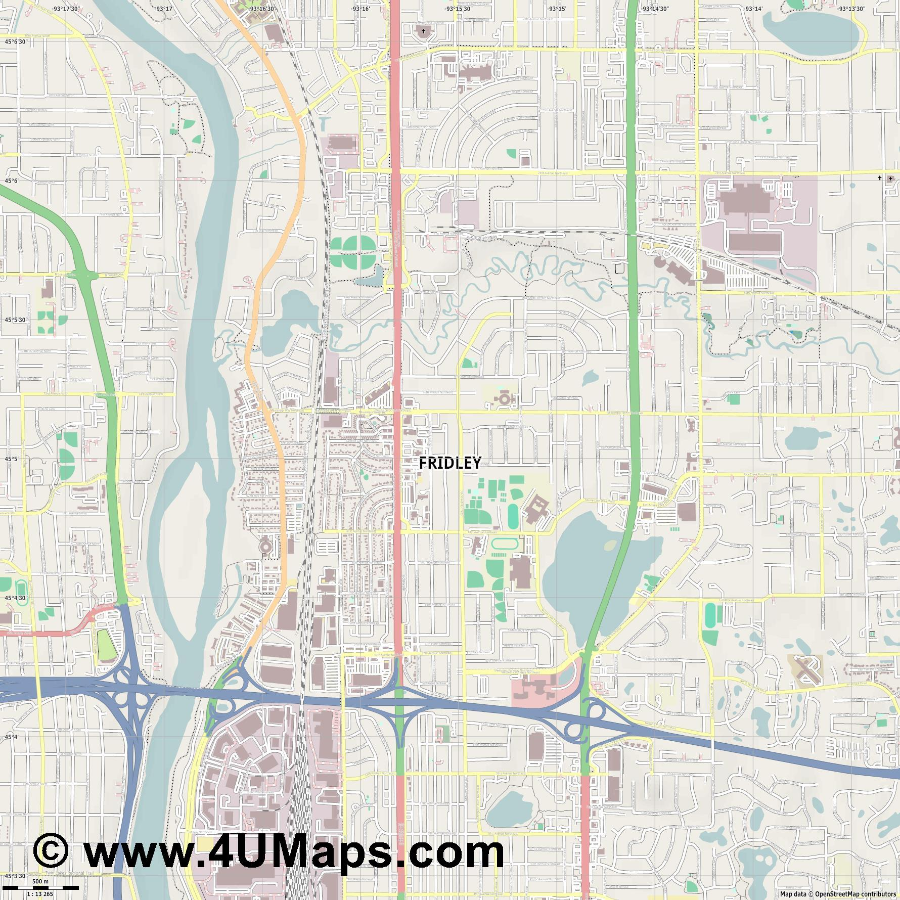 Fridley  jpg ultra high detail preview vector city map