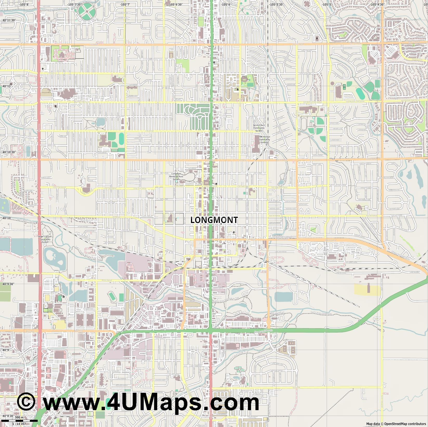 Longmont  jpg ultra high detail preview vector city map