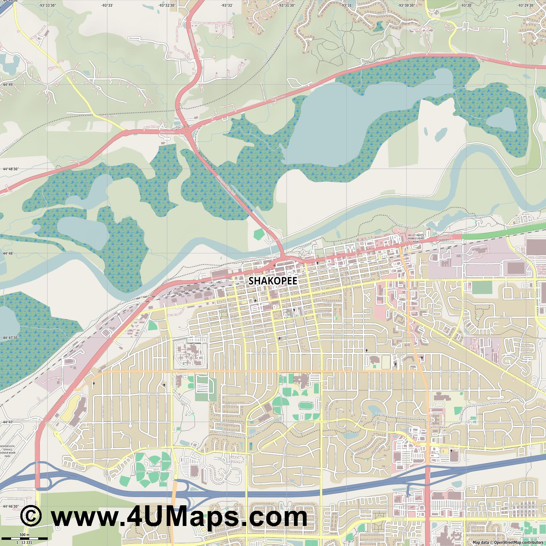 Shakopee  jpg ultra high detail preview vector city map