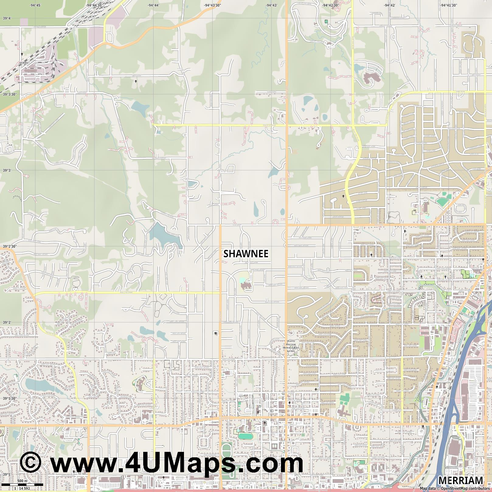 Shawnee  jpg ultra high detail preview vector city map