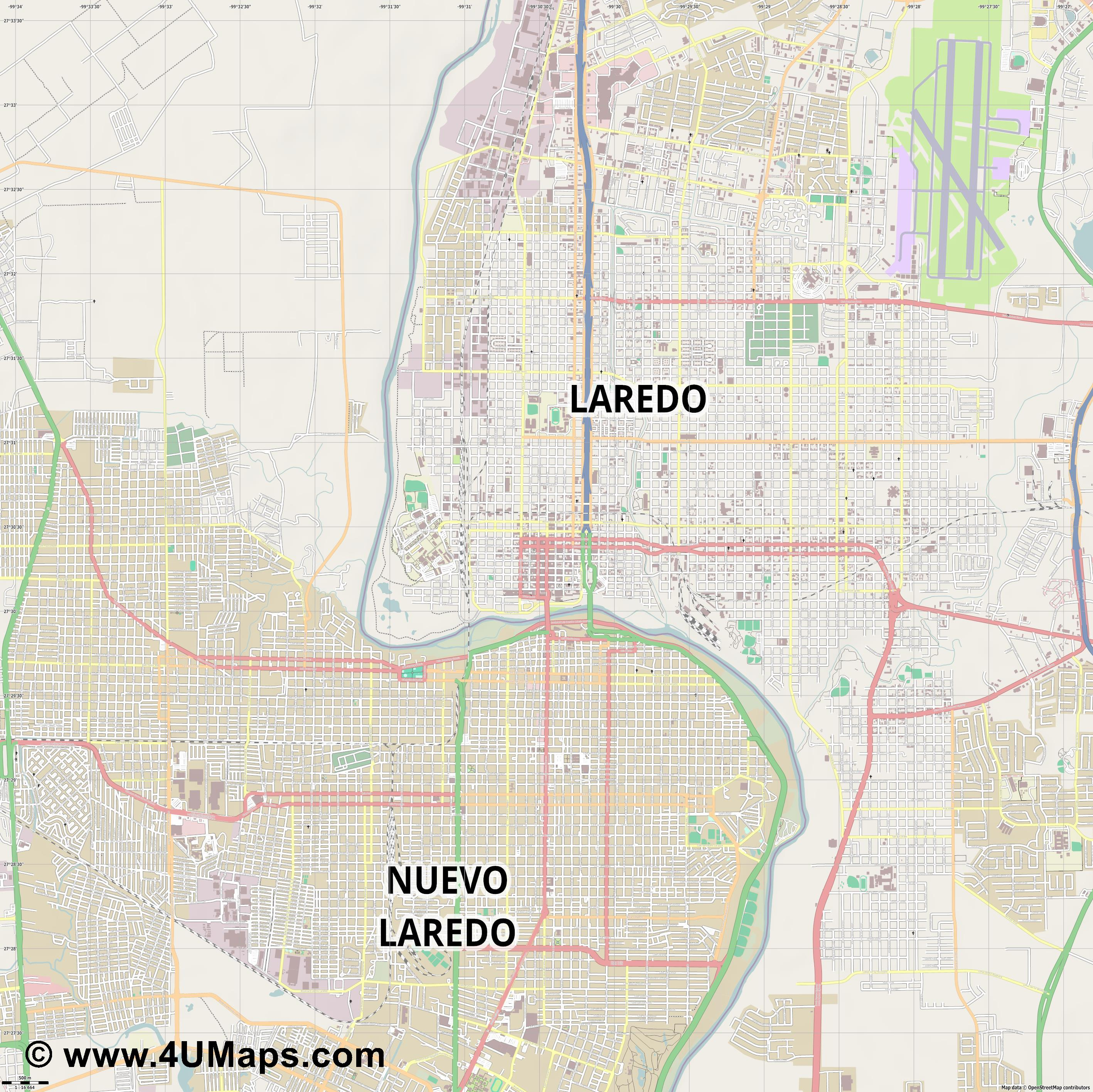 Laredo  jpg ultra high detail preview vector city map