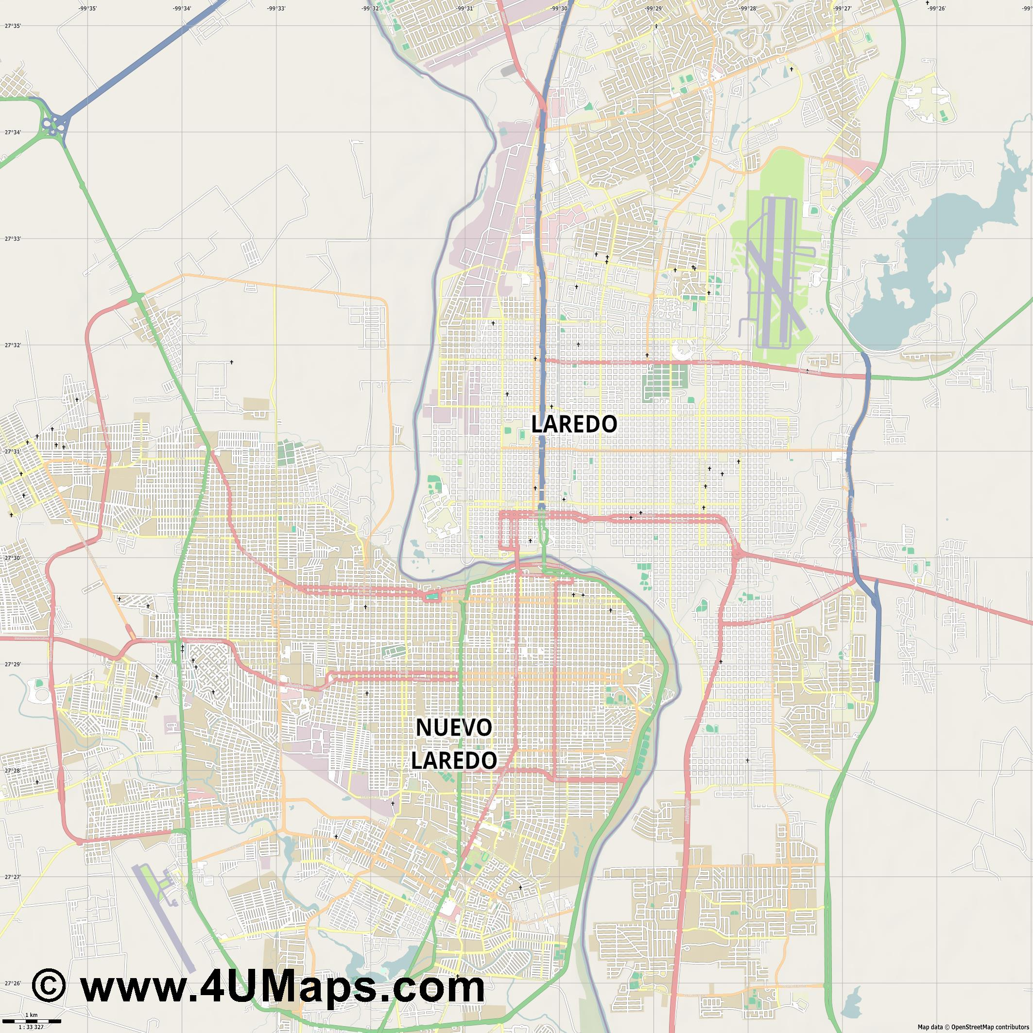 Laredo  jpg high detail, large area preview vector city map