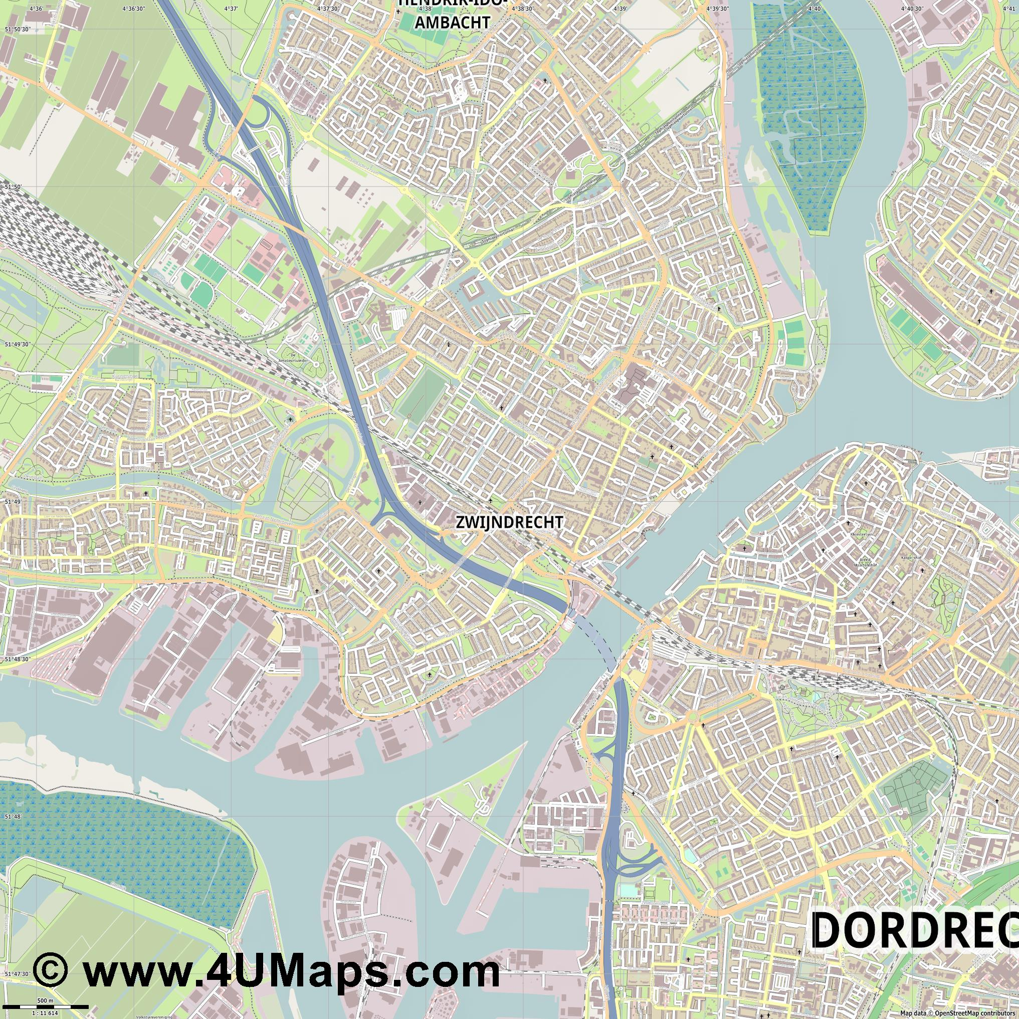 Zwijndrecht  jpg ultra high detail preview vector city map