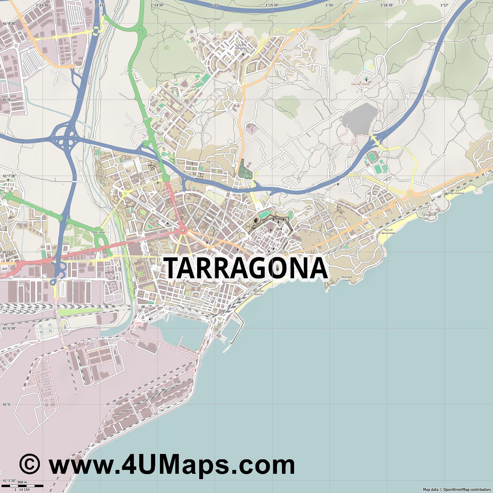 PDF, Svg Scalable Vector City Map Tarragona