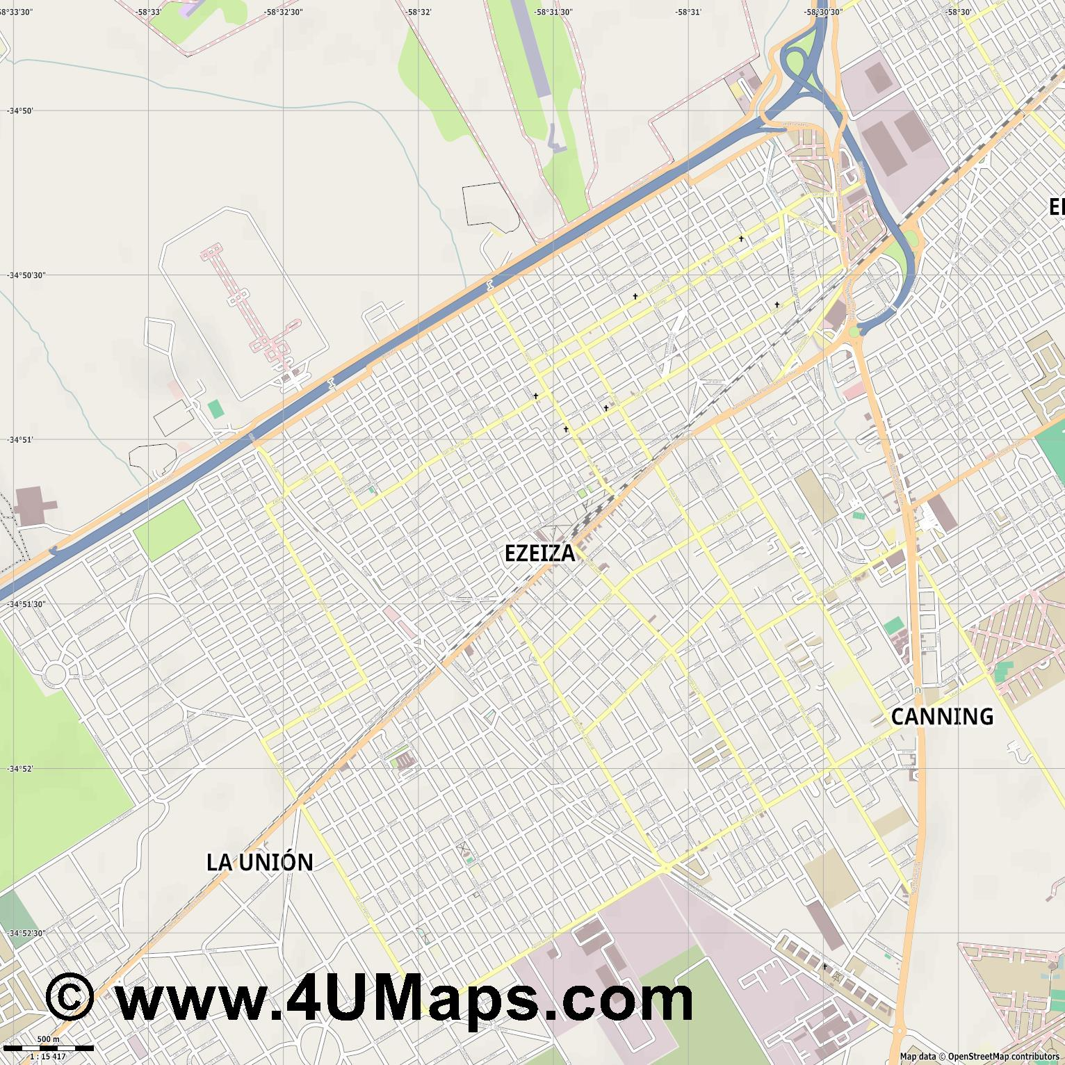 Ezeiza  jpg ultra high detail preview vector city map