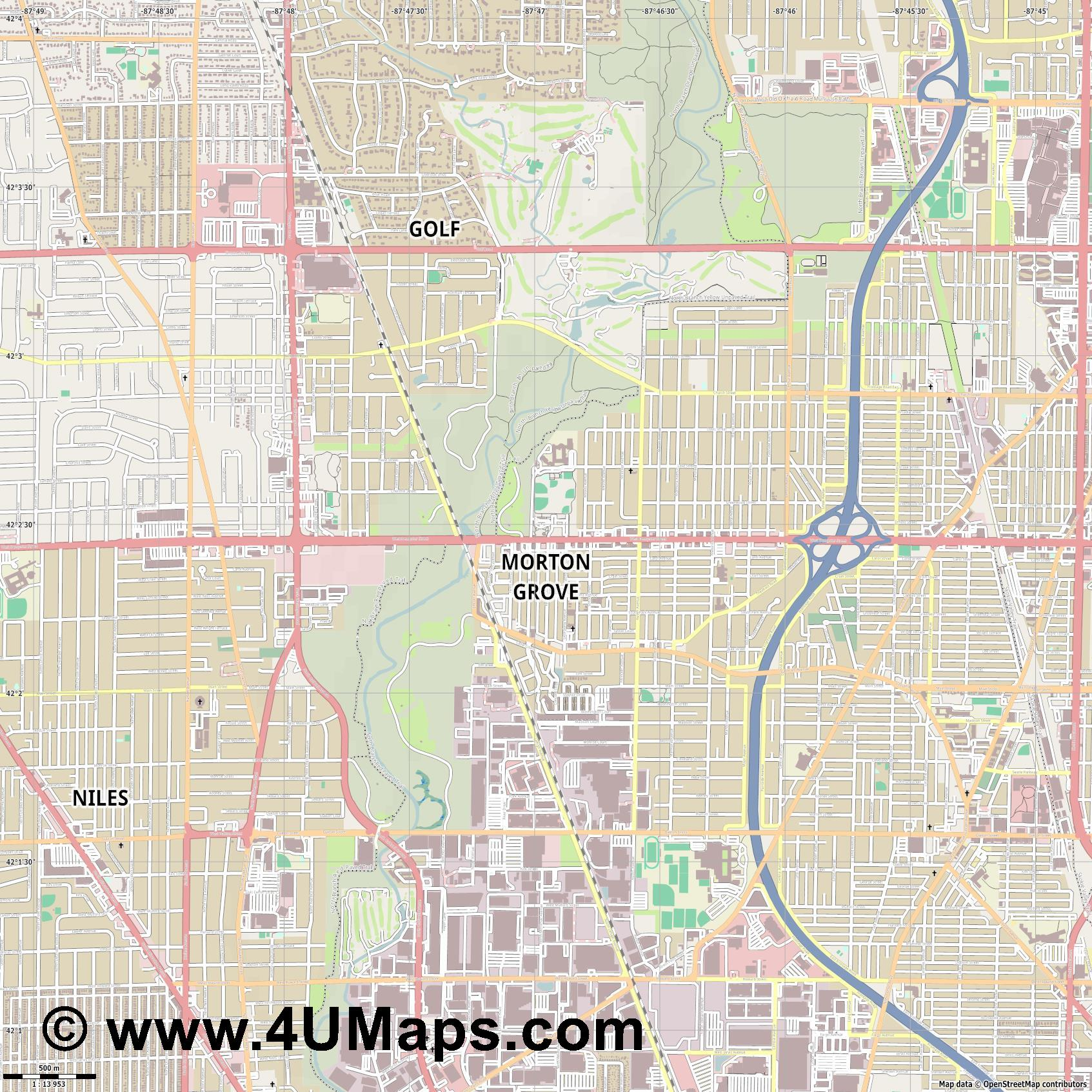 Morton Grove  jpg ultra high detail preview vector city map