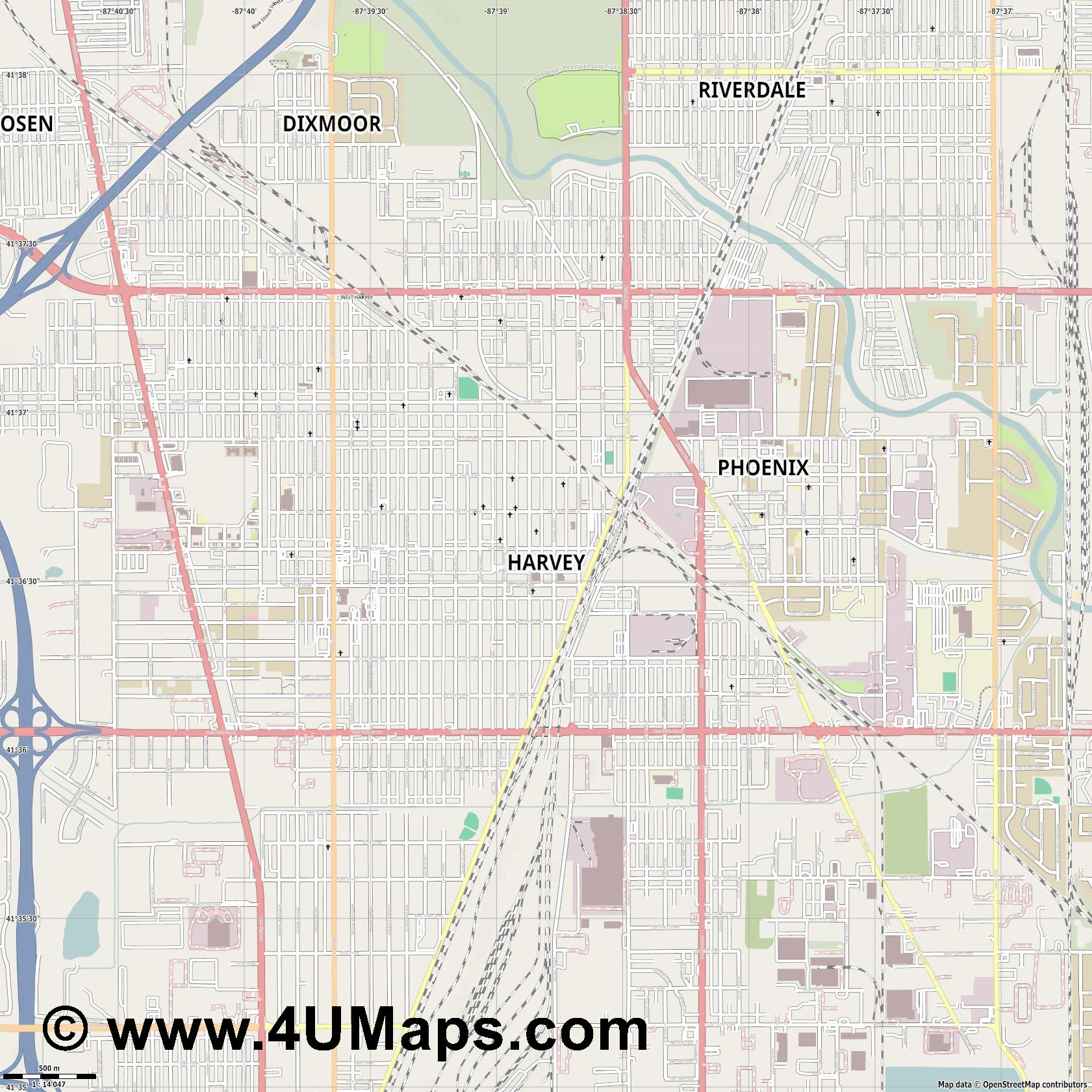 Harvey  jpg ultra high detail preview vector city map