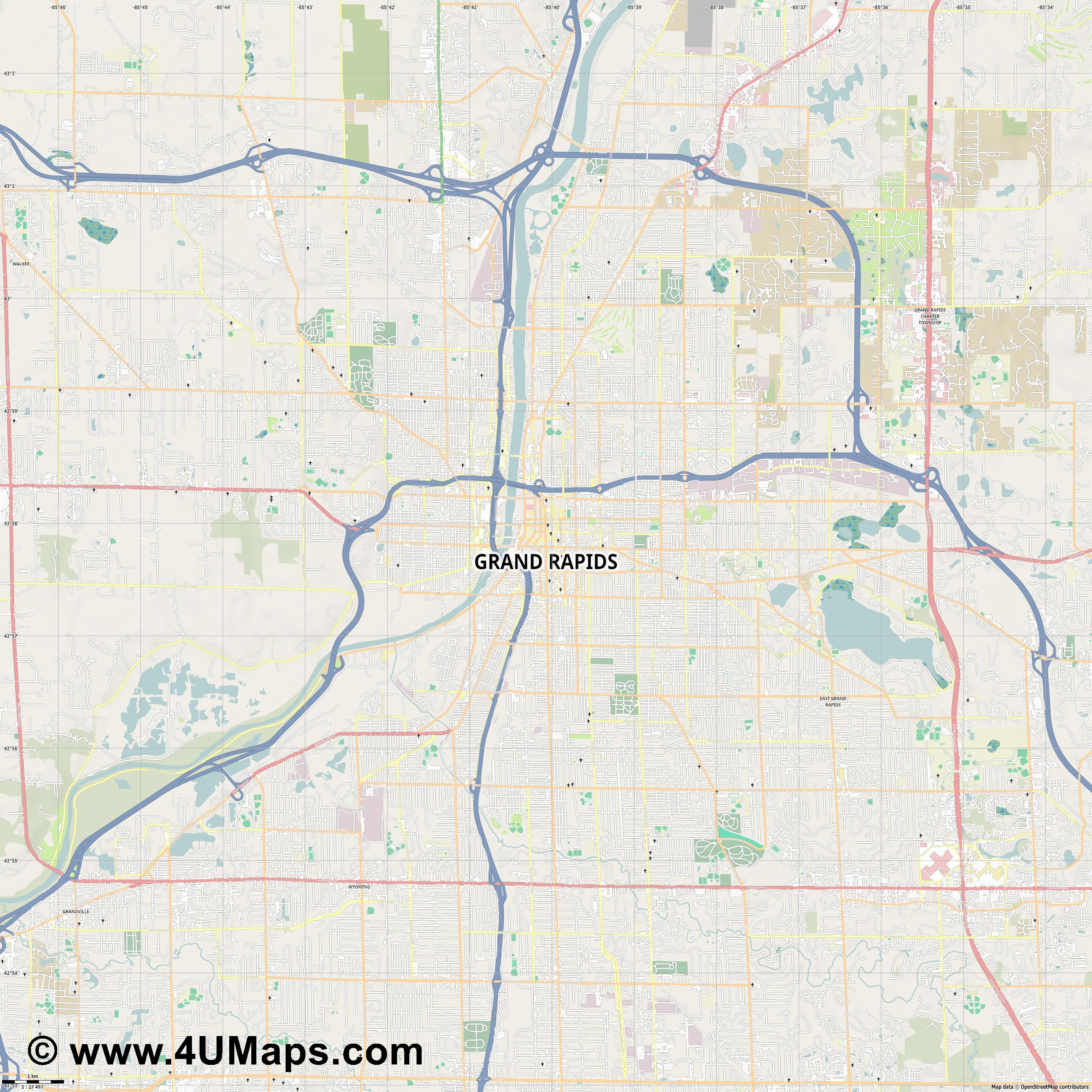 Grand Rapids  jpg high detail, large area preview vector city map