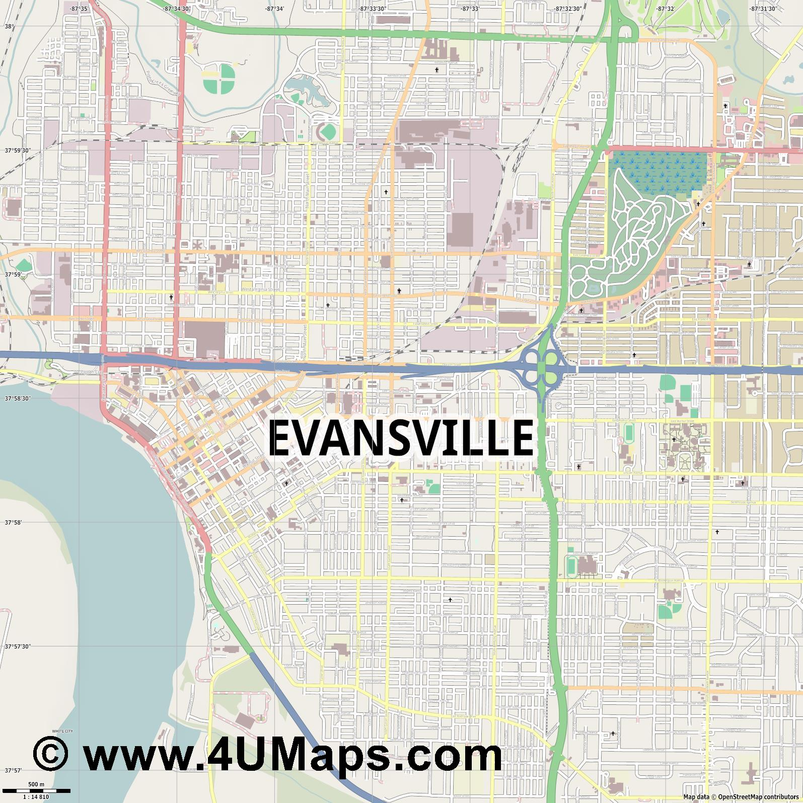 Evansville  jpg ultra high detail preview vector city map