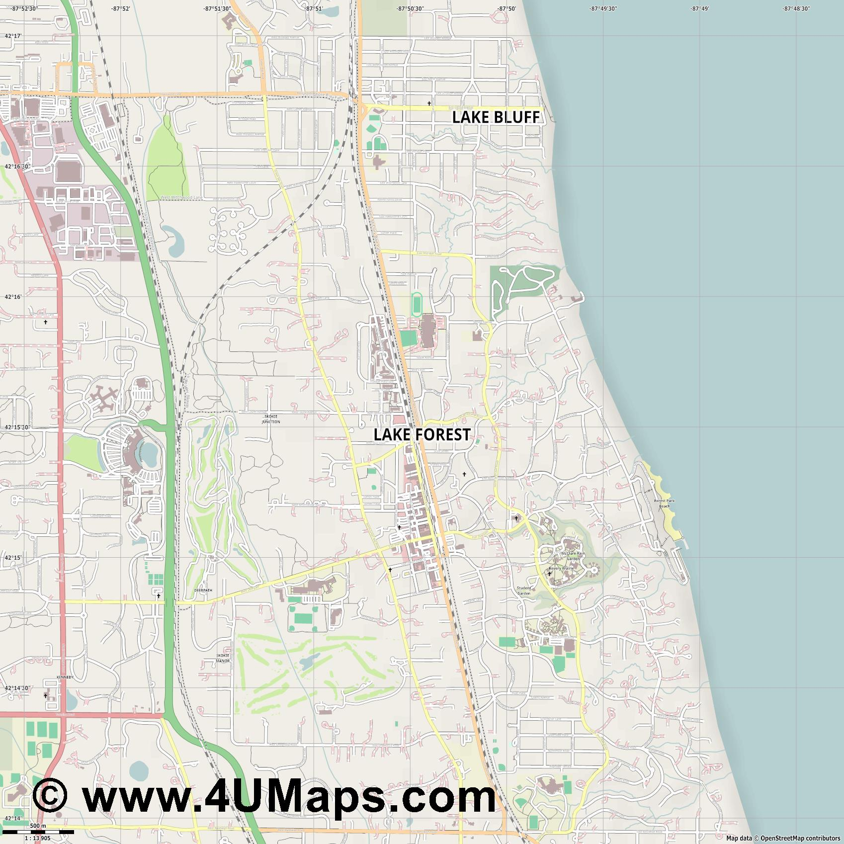 Lake Forest  jpg ultra high detail preview vector city map