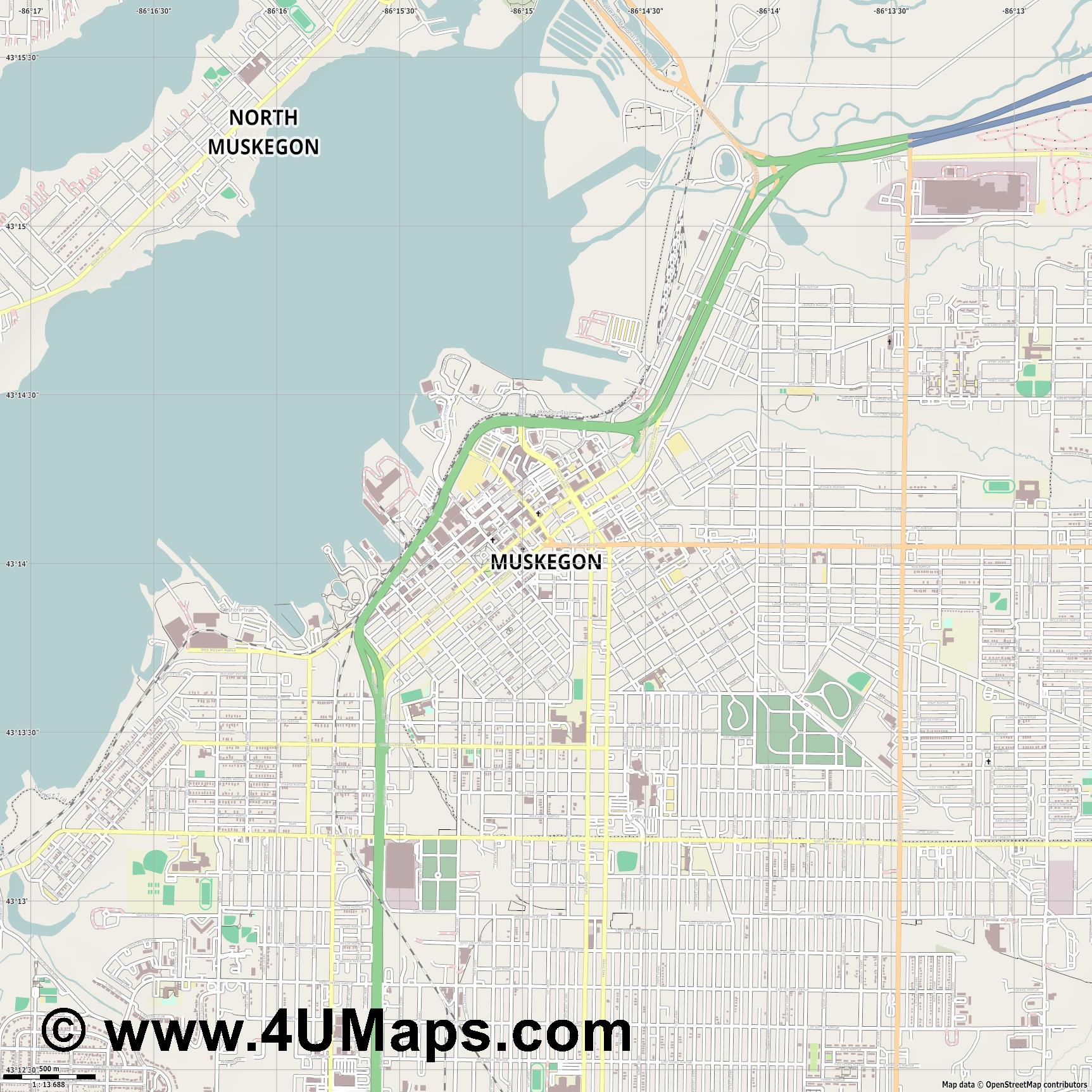 Muskegon  jpg ultra high detail preview vector city map