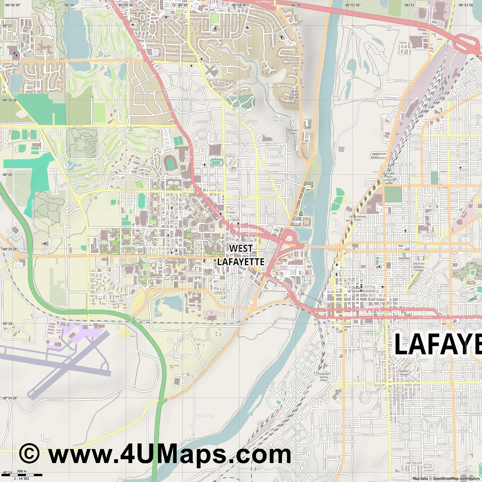 West Lafayette  jpg ultra high detail preview vector city map