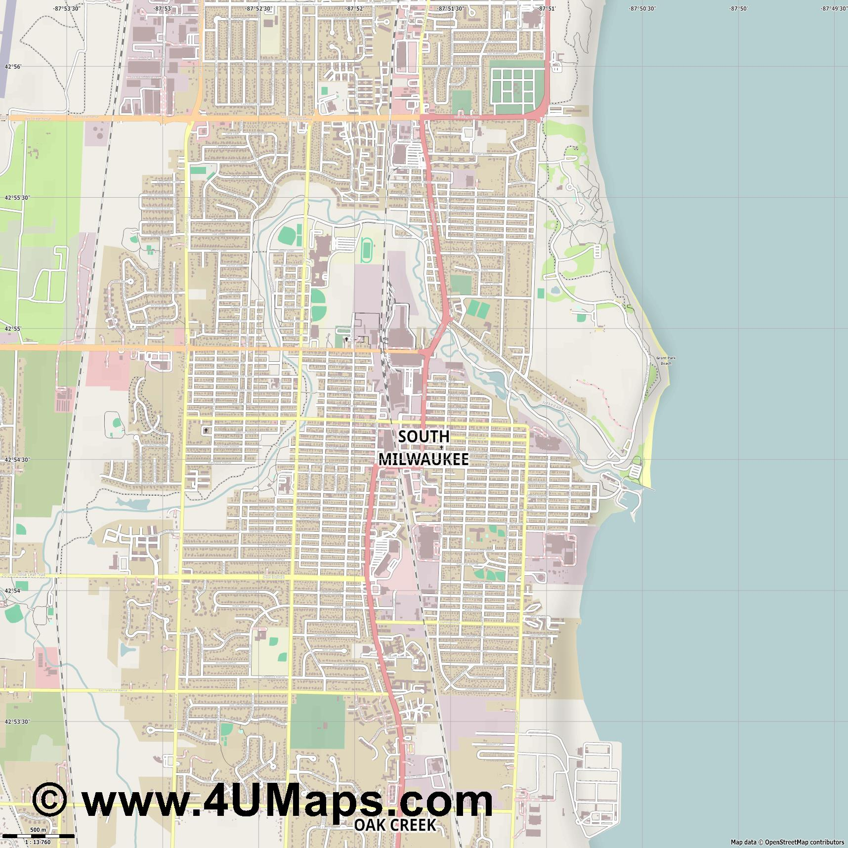 South Milwaukee  jpg ultra high detail preview vector city map