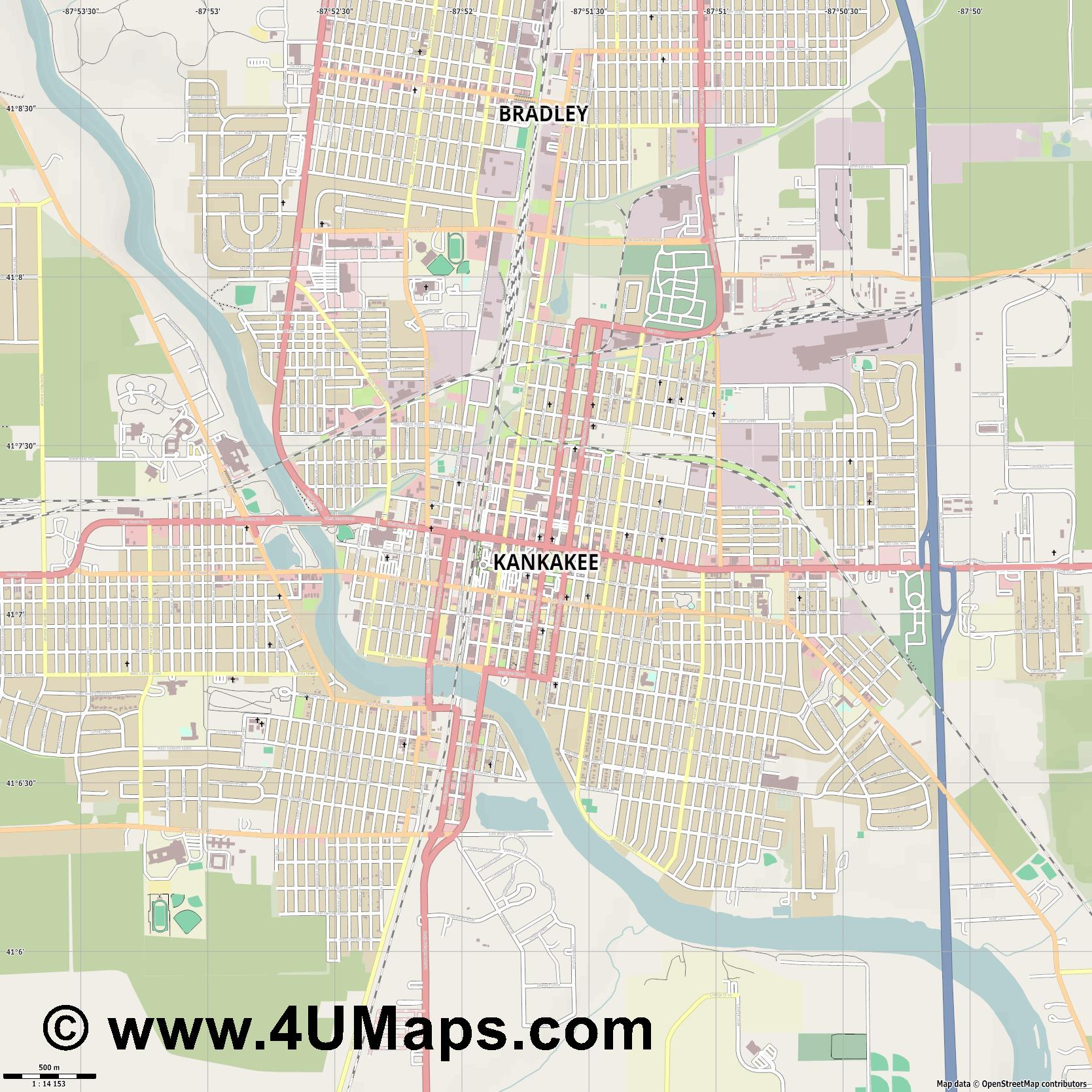 Kankakee  jpg ultra high detail preview vector city map