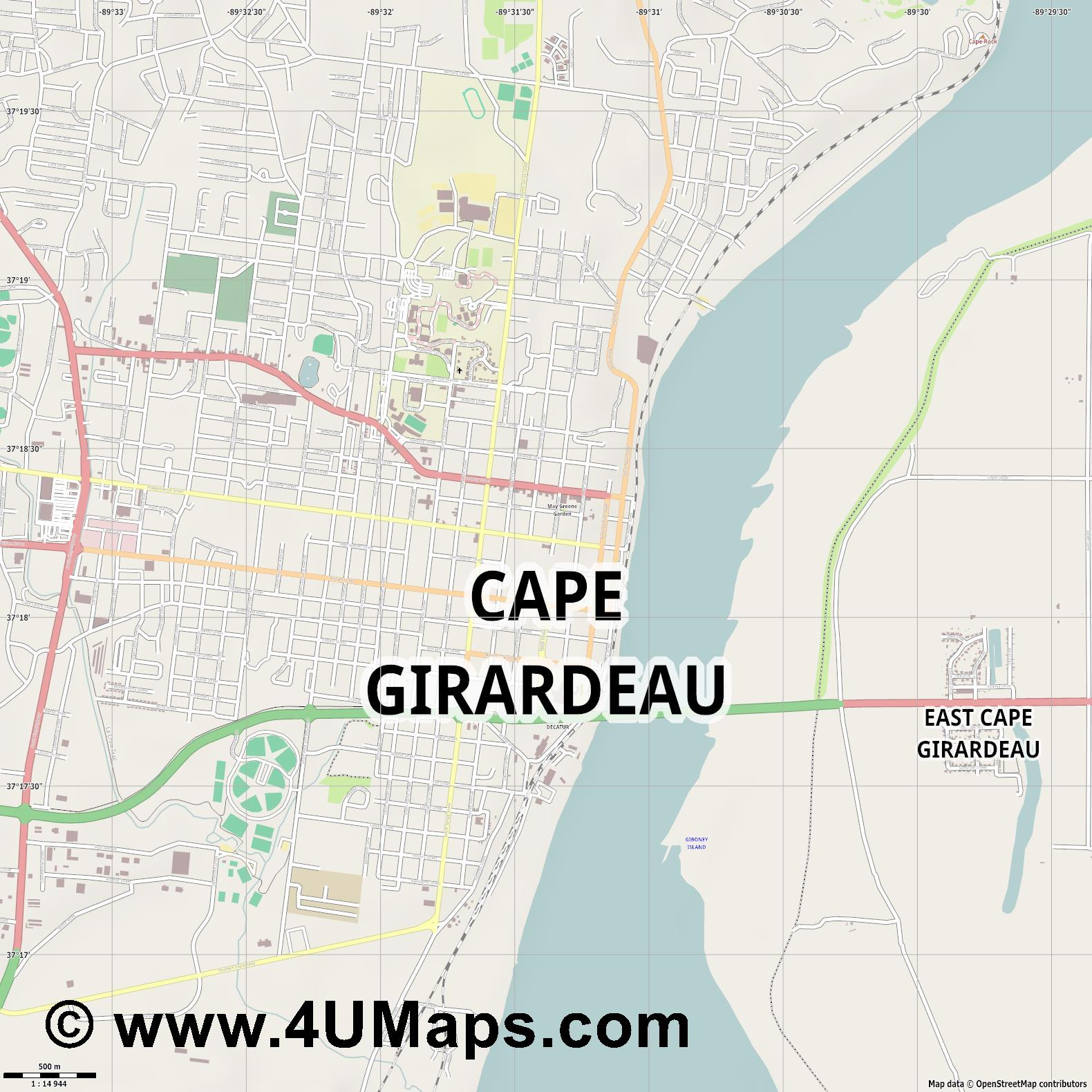Cape Girardeau  jpg ultra high detail preview vector city map