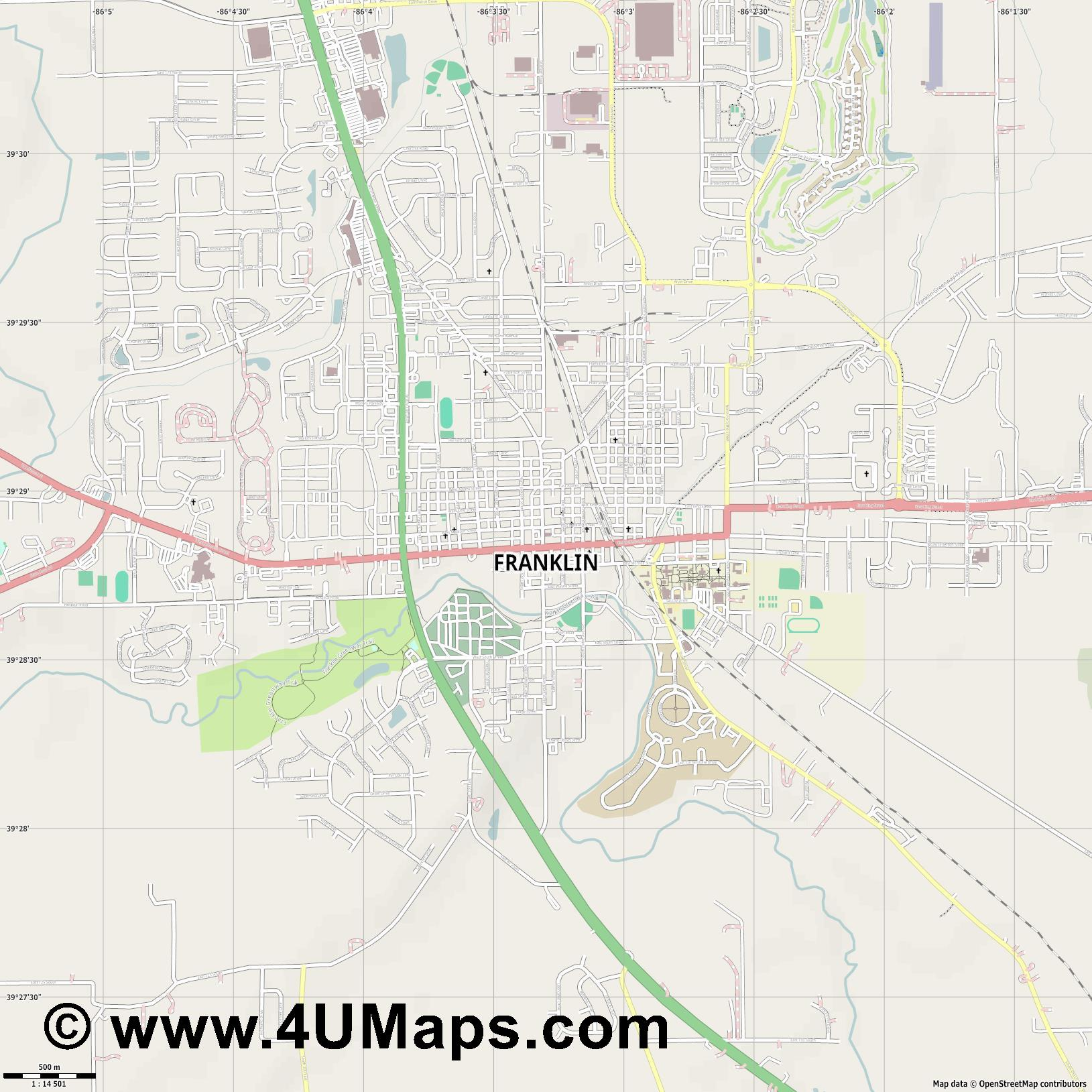 Franklin  jpg ultra high detail preview vector city map