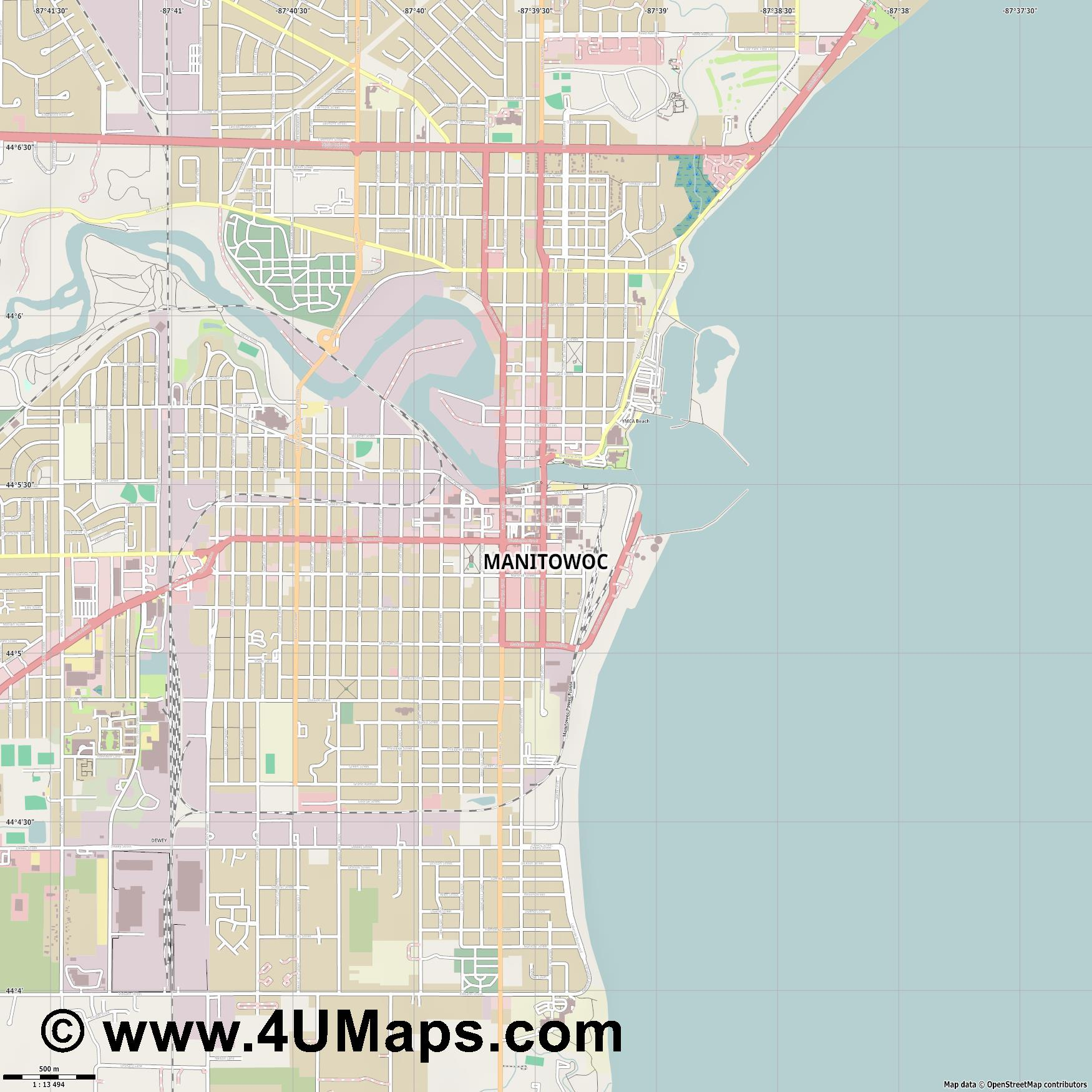 Manitowoc  jpg ultra high detail preview vector city map
