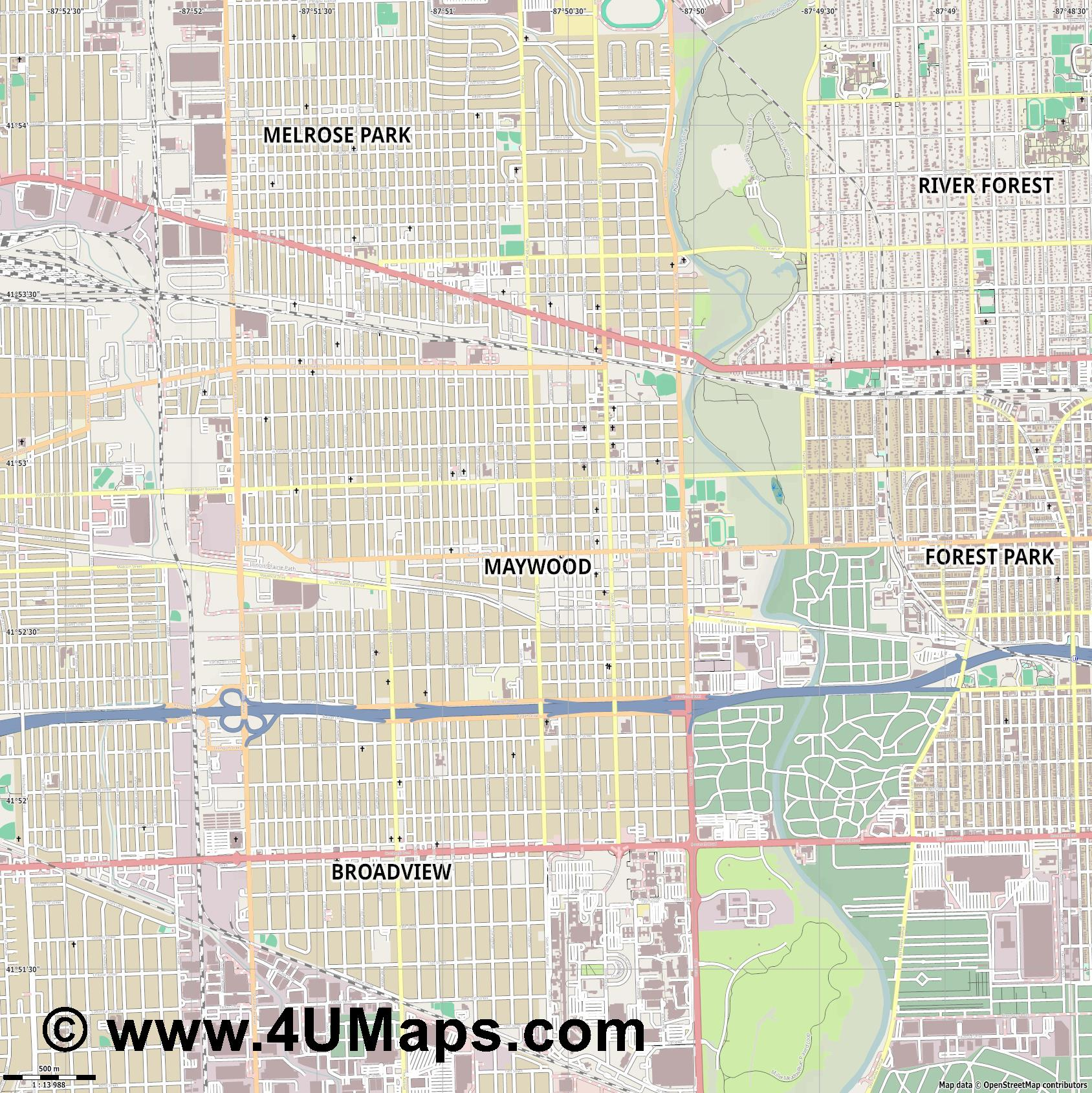Maywood  jpg ultra high detail preview vector city map
